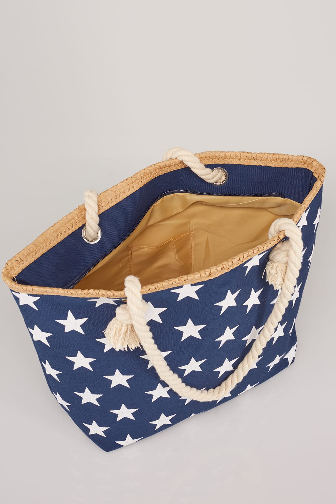 Navy  White Star Print Beach Bag With Rope Handles-1304