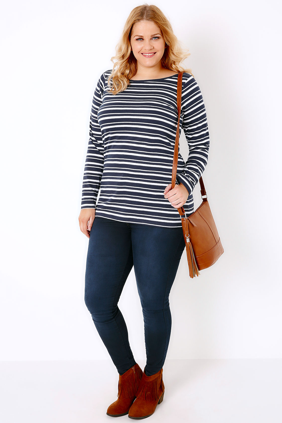 Navy White Striped Boat Neck Top With Long Sleeves Plus