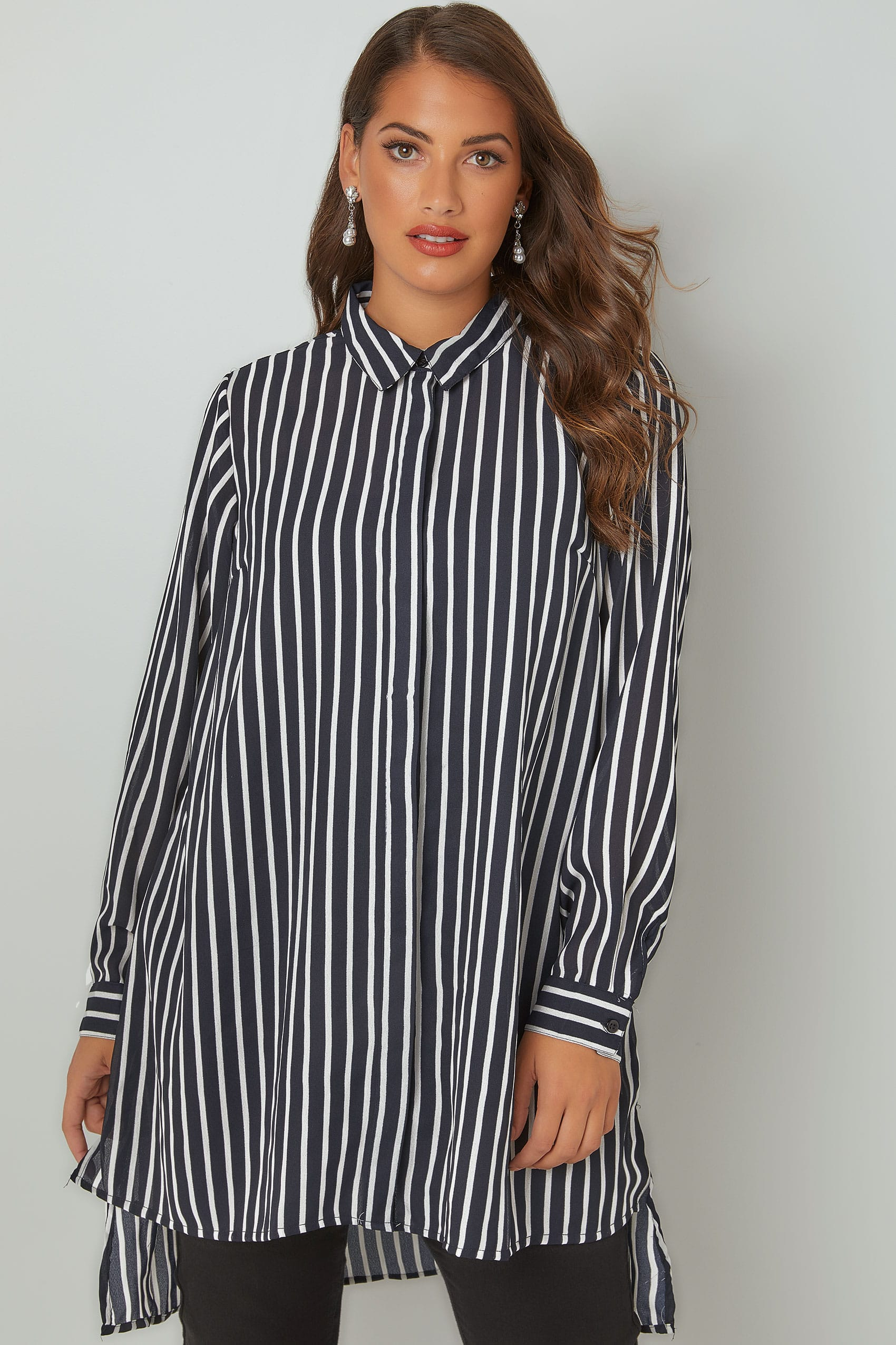 navy white striped longline shirt with step hem plus size 16 to 32. Black Bedroom Furniture Sets. Home Design Ideas