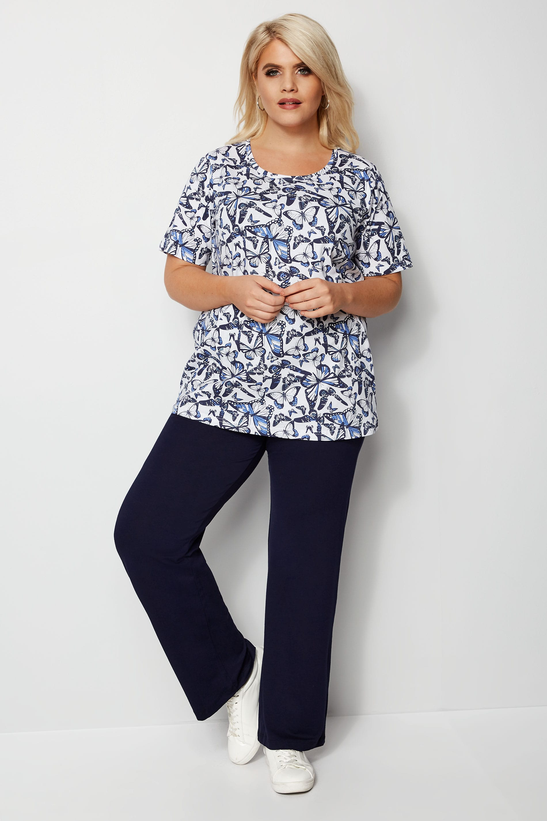 Rooms: Navy Wide Leg Pull On Stretch Jersey Yoga Trousers Plus