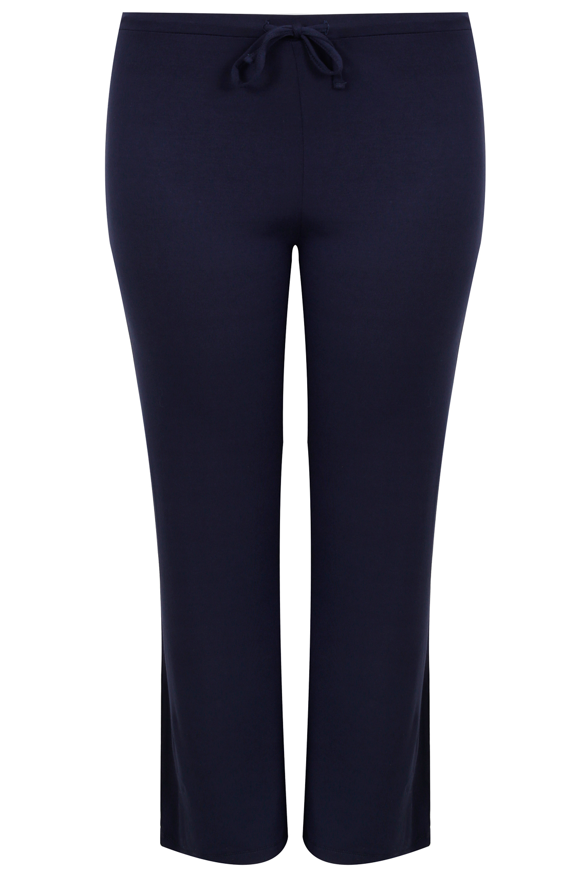 Navy Wide Leg Pull On Stretch Jersey Yoga Trousers Plus Size 16 To 36-1774