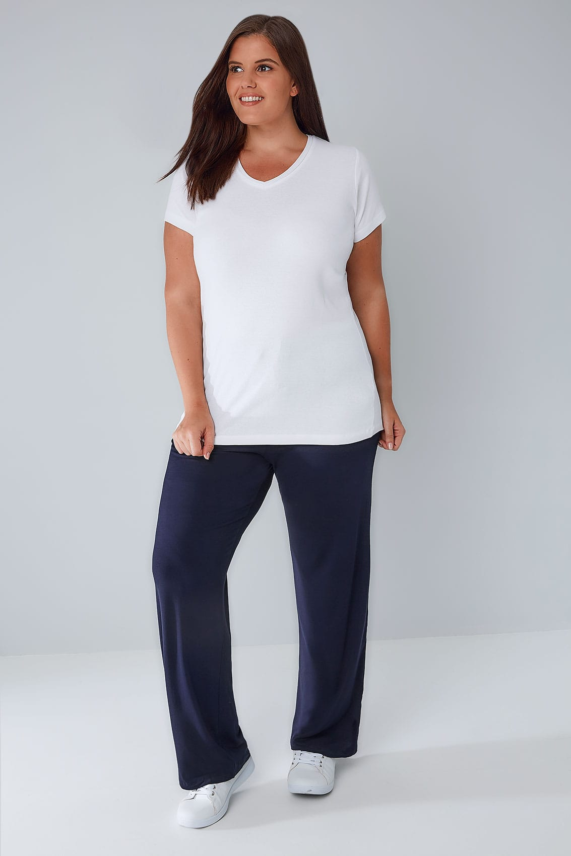 Navy Wide Leg Pull On Stretch Jersey Yoga Trousers Plus -5761