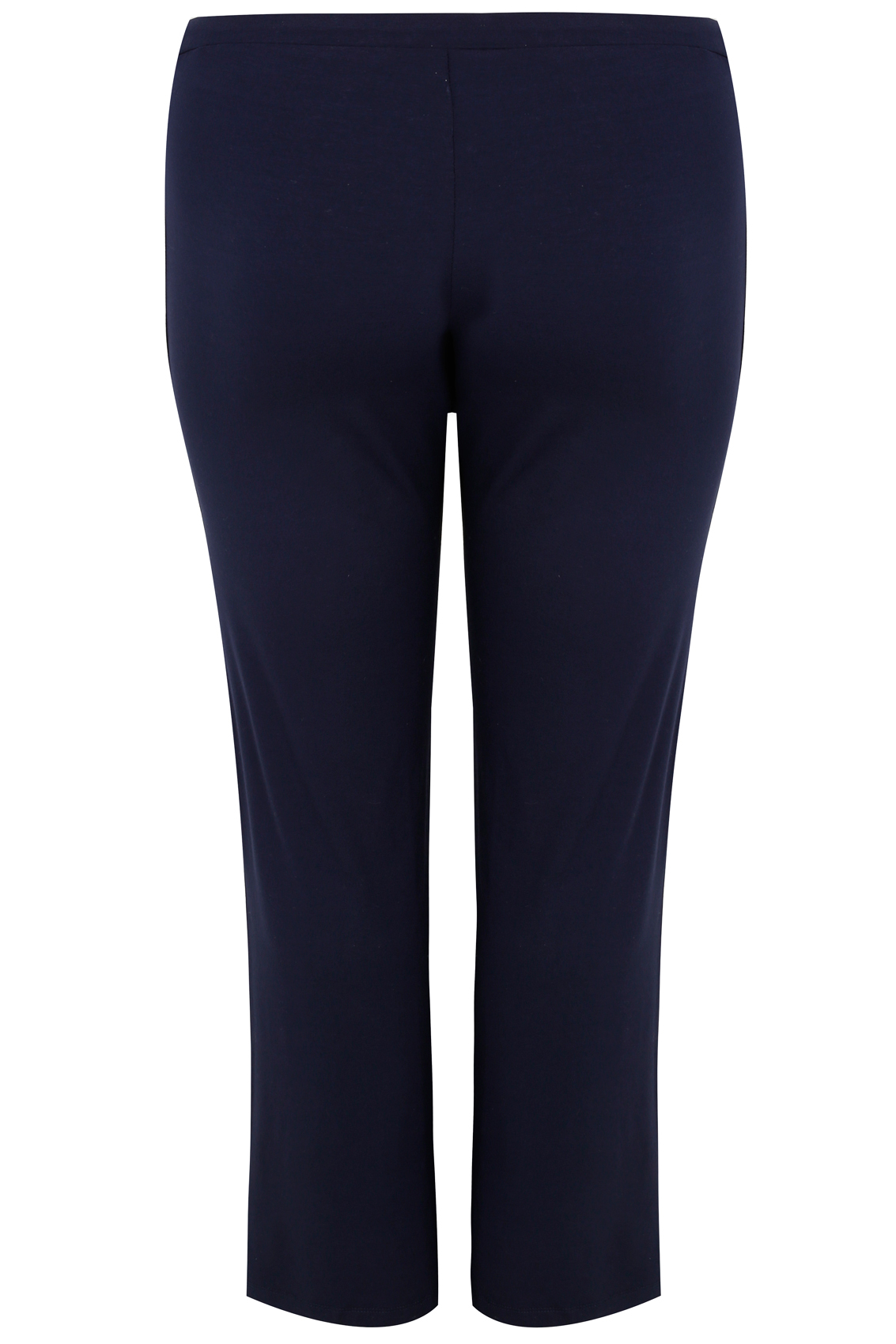 Navy Wide Leg Pull On Stretch Jersey Yoga Trousers Plus -1226