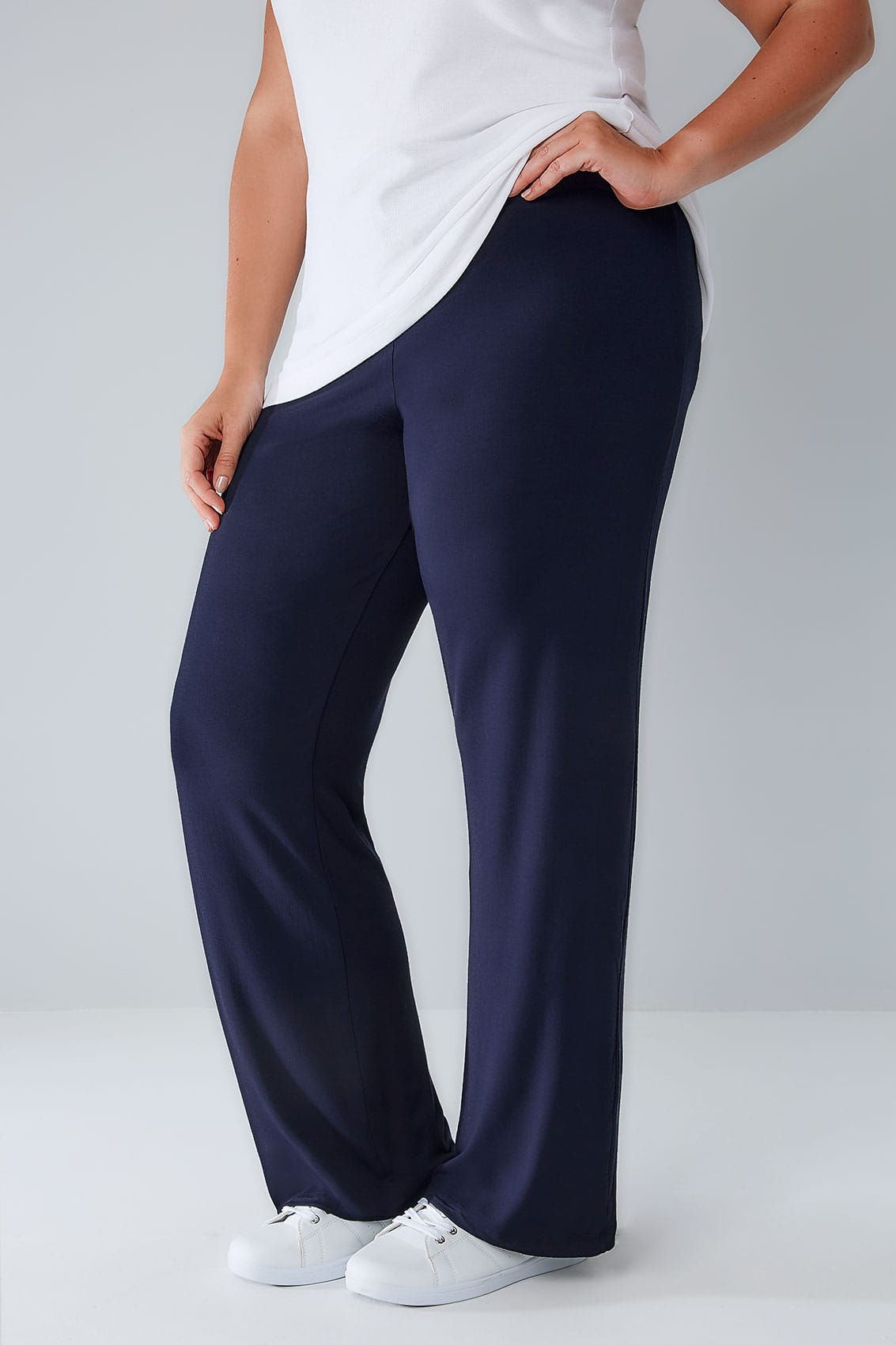 Navy Wide Leg Pull On Stretch Jersey Yoga Trousers Plus -4799