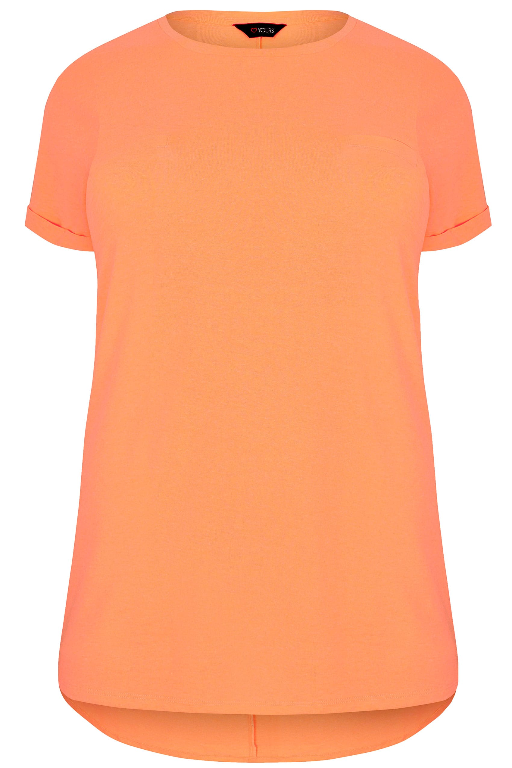 Neon orange pocket t shirt with curved hem plus size 16 to 36 for Buy here pay later
