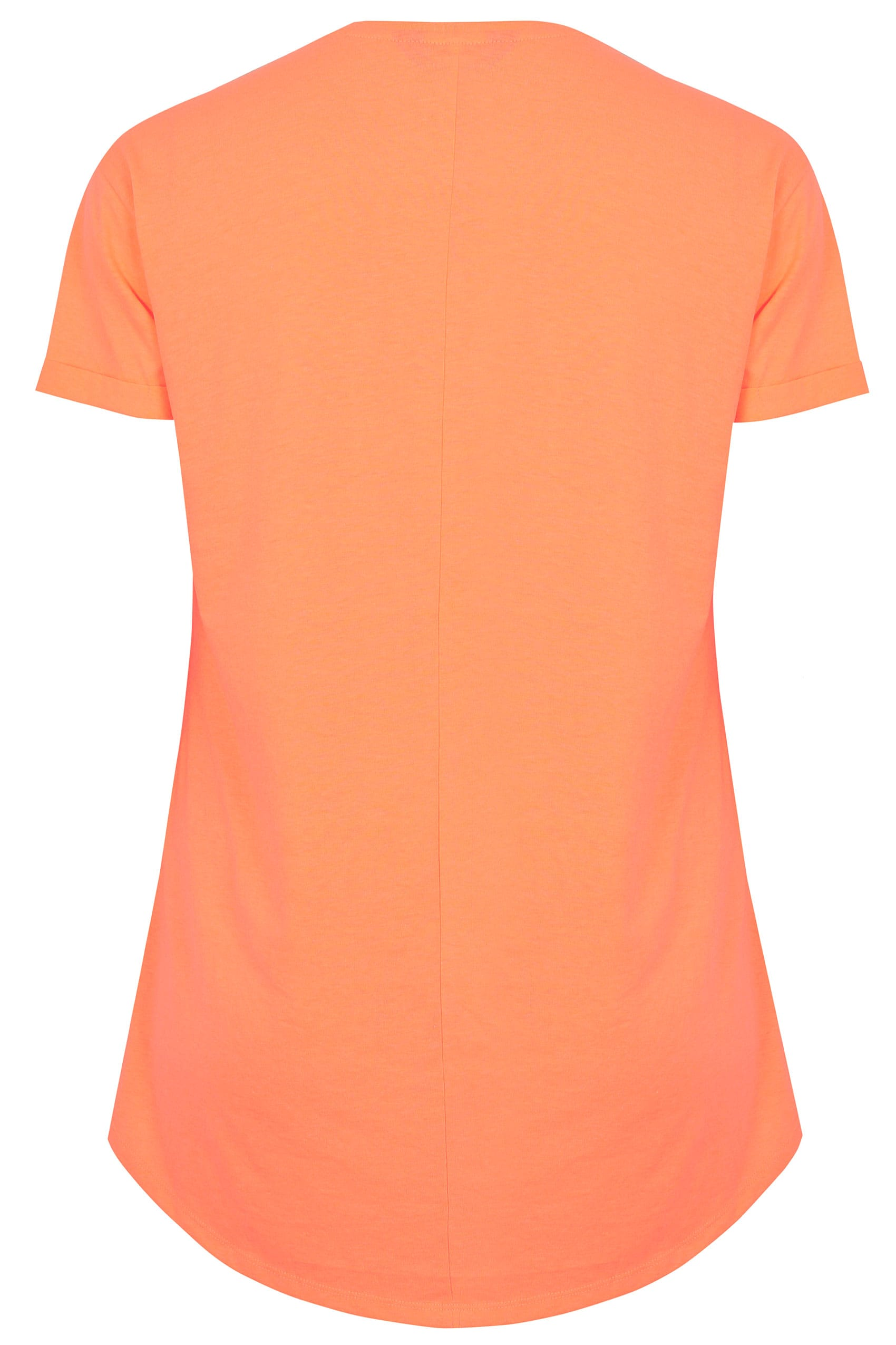 neon orange pocket t shirt with curved hem plus size 16 to 36. Black Bedroom Furniture Sets. Home Design Ideas