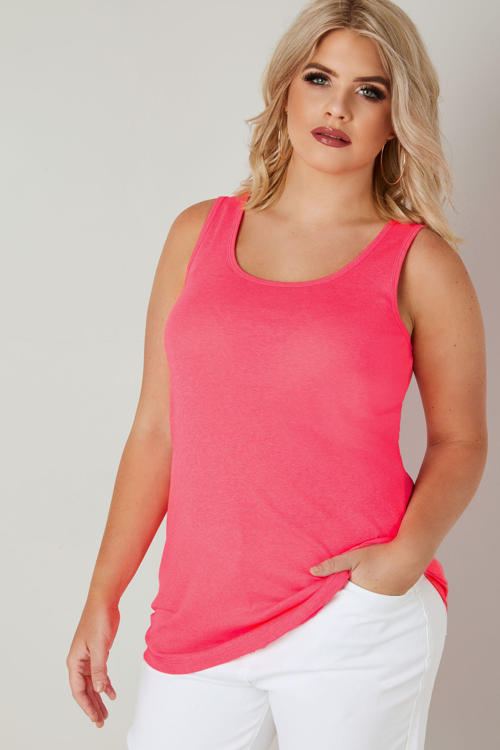Neon Pink Vest Top, Plus Size 16 To 36