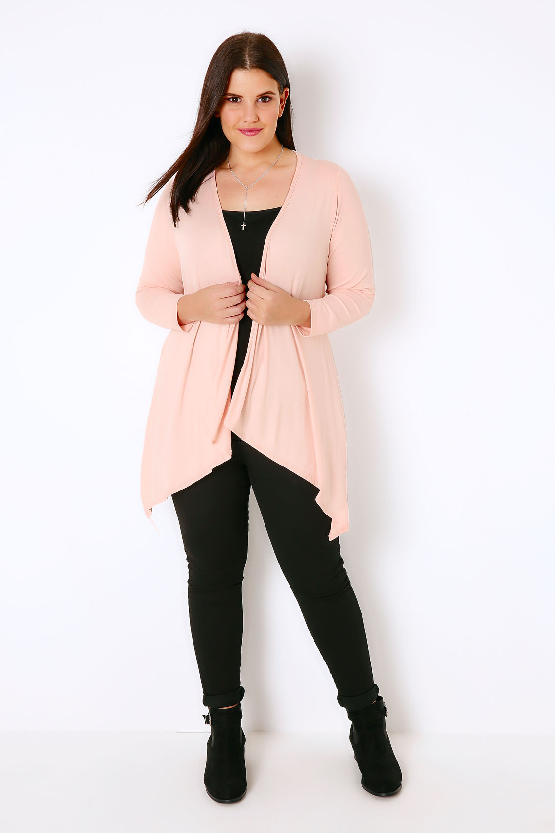 Nude Pink Edge to Edge Waterfall Jersey Cardigan, Plus size 16 to 32