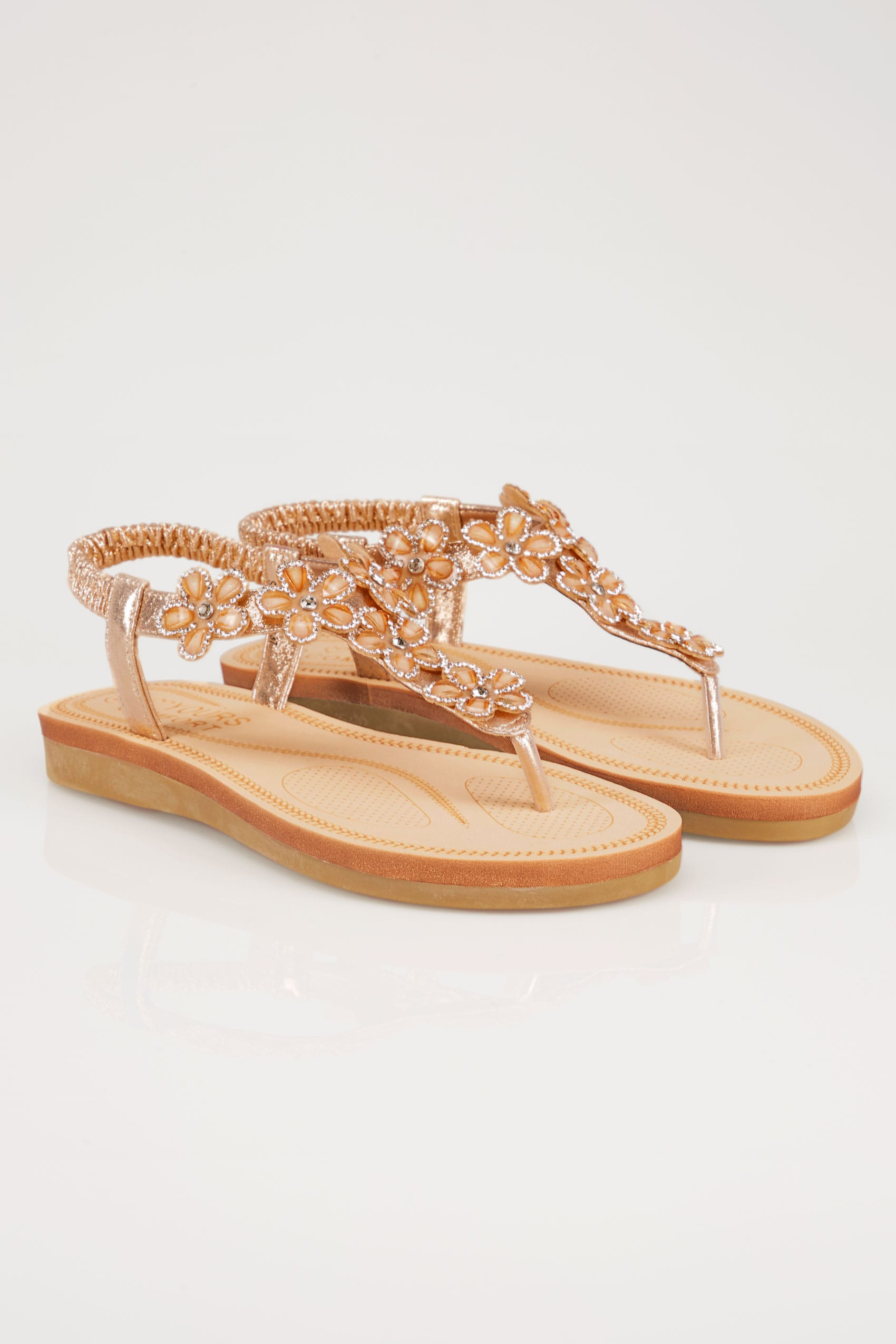 f1de774bca9e Bronze Embellished Floral Sandals In EEE Fit