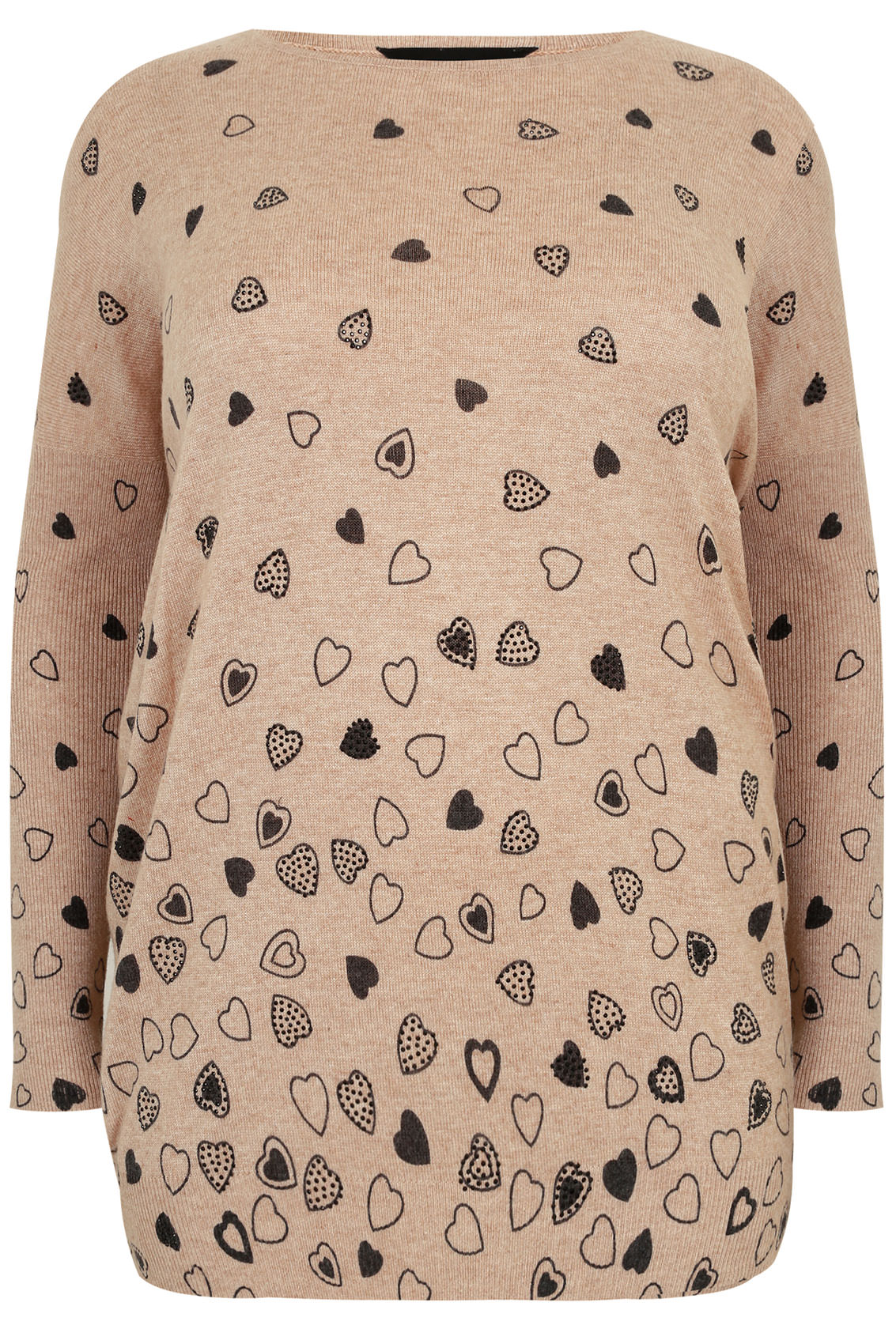 Oatmeal Brown Embellished Heart Print Knit Jumper Plus ...