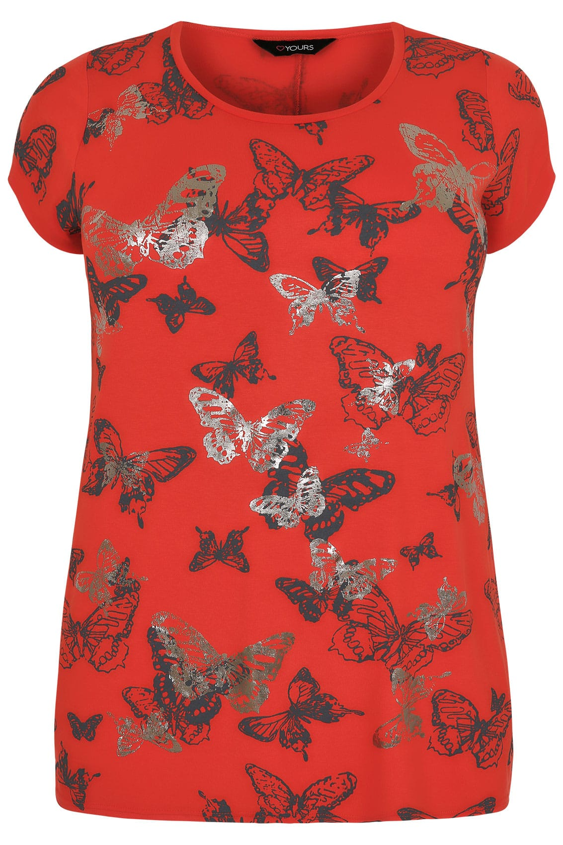 Red butterfly print t shirt with foil detail plus size 16 for T shirt print dimensions