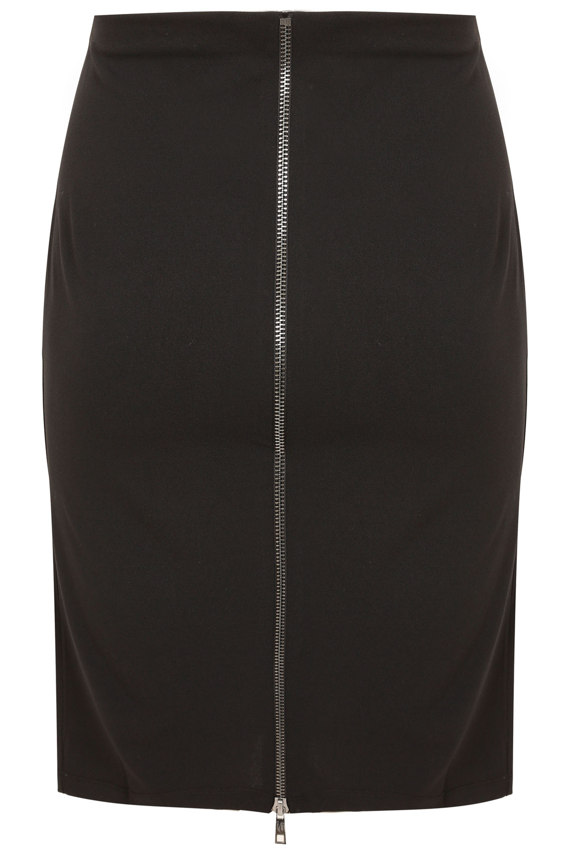 paprika black stretch pencil skirt with metallic zip back