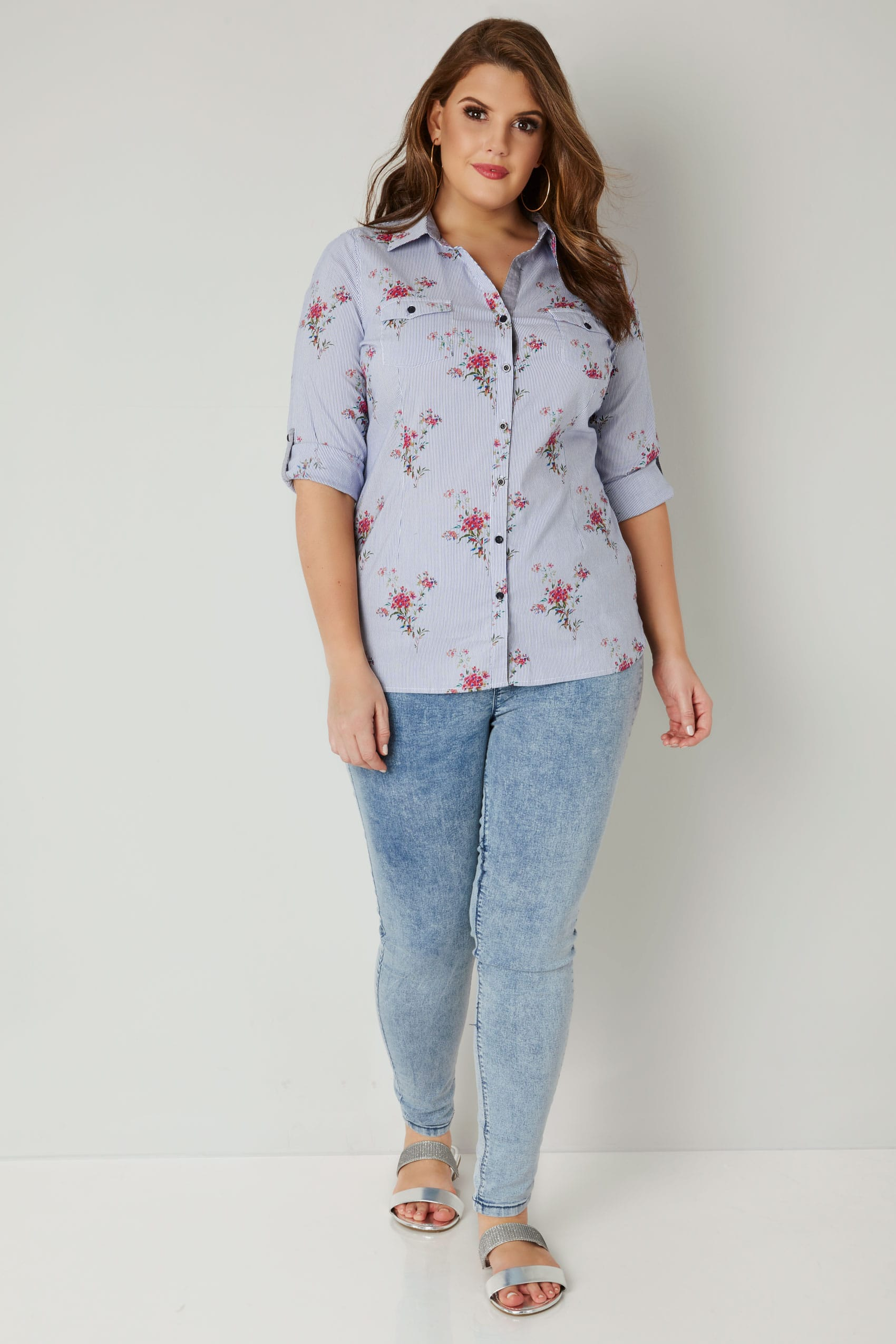 Paprika blue white pinstripe floral print shirt plus for Sites like touch of modern