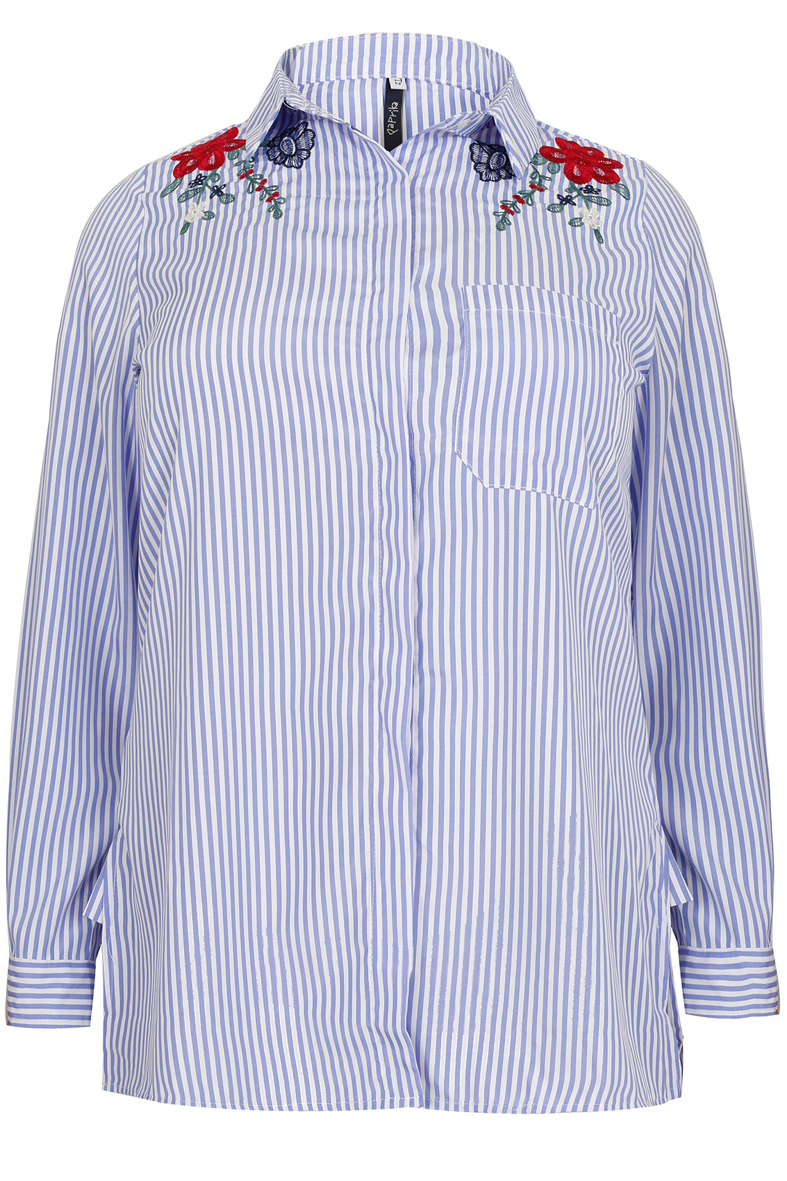 PAPRIKA Blue & White Stripe Shirt With Floral Embroidery plus size ...