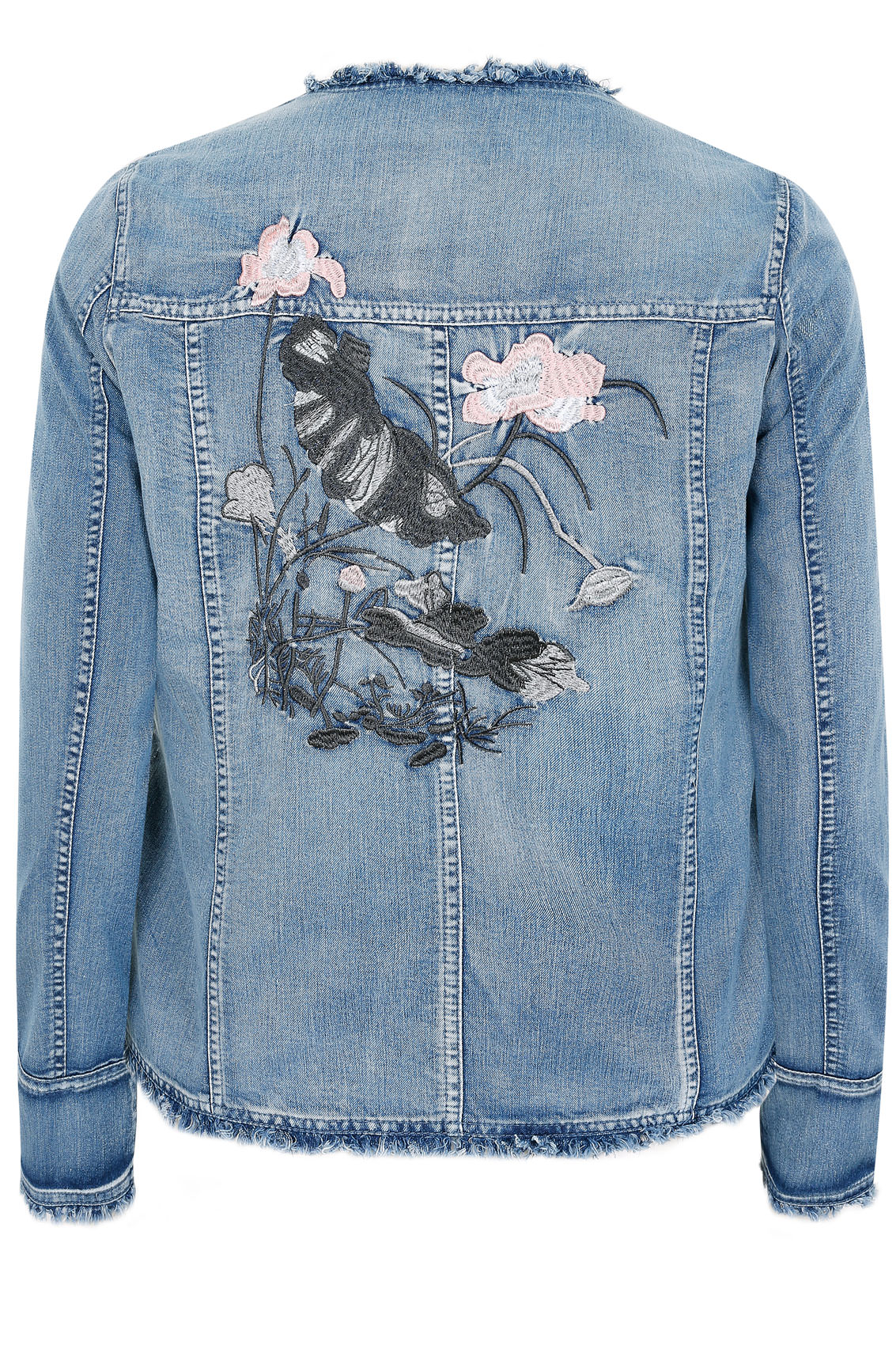 Paprika denim embroidered jacket with frayed raw edge