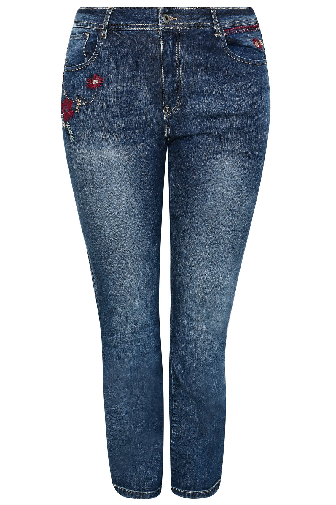 Paprika indigo embroidered faded bootcut jeans plus size