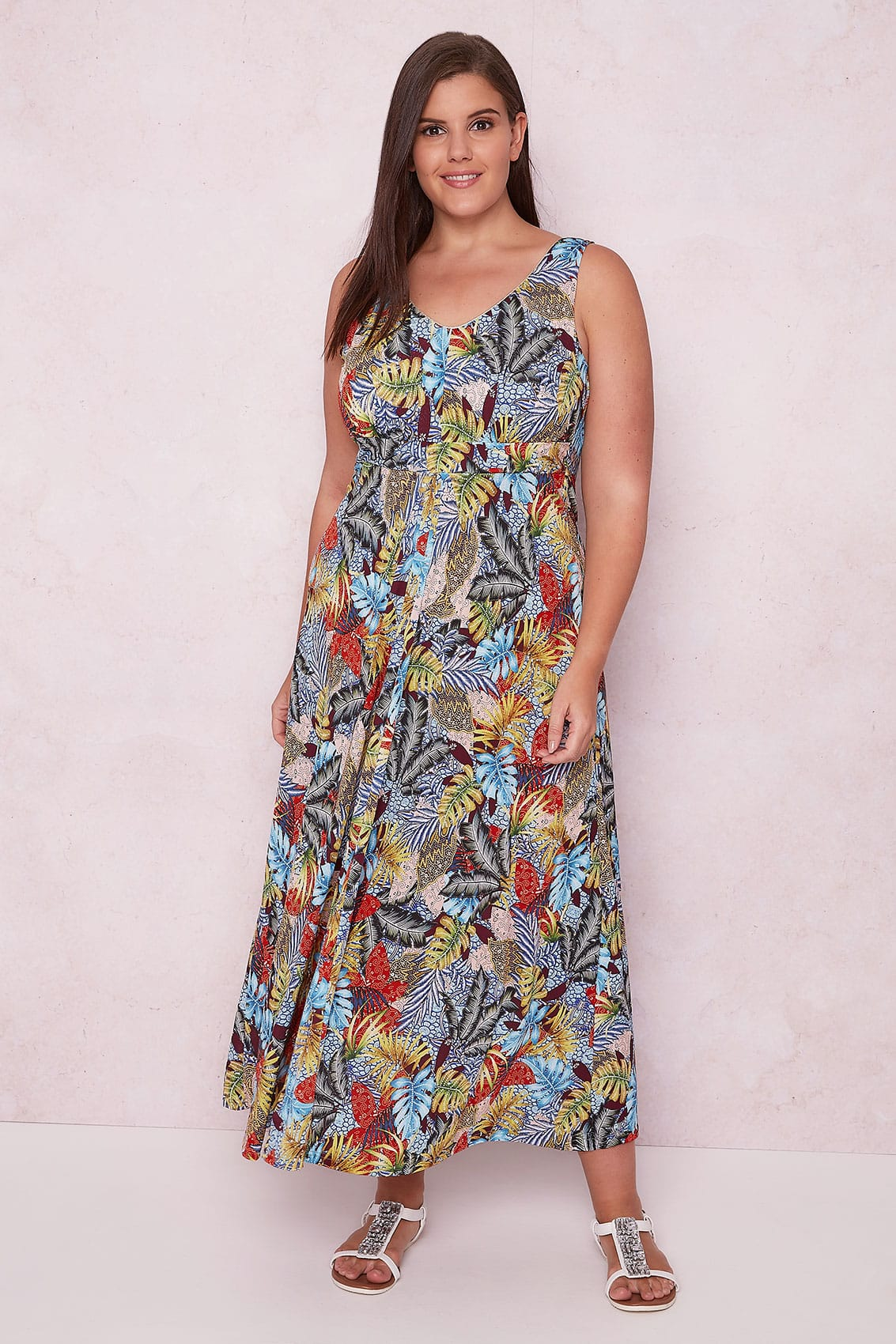 paprika multi tropical print maxi dress with tie waist. Black Bedroom Furniture Sets. Home Design Ideas