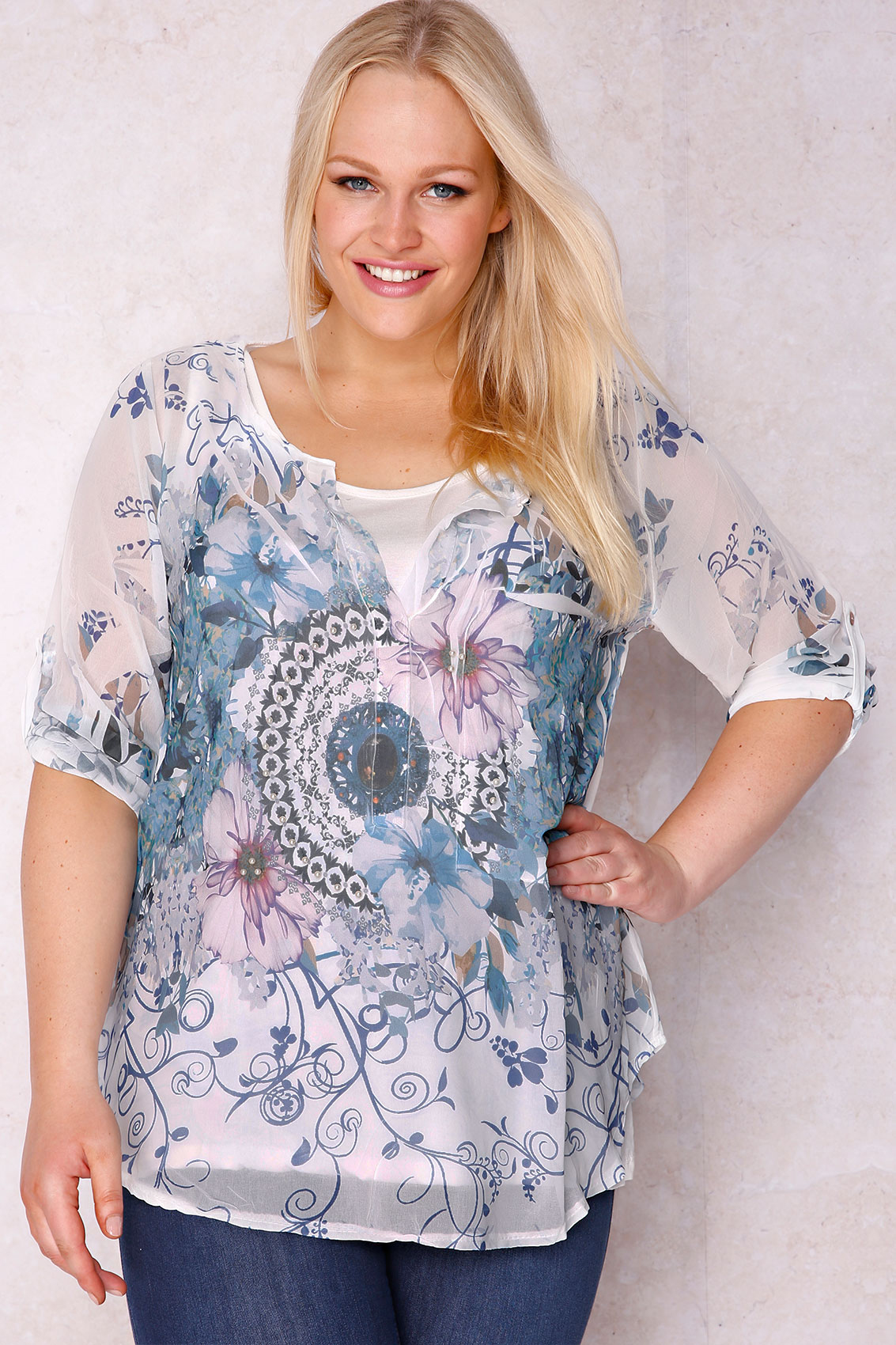 paprika white  u0026 blue floral print blouse with cream cami