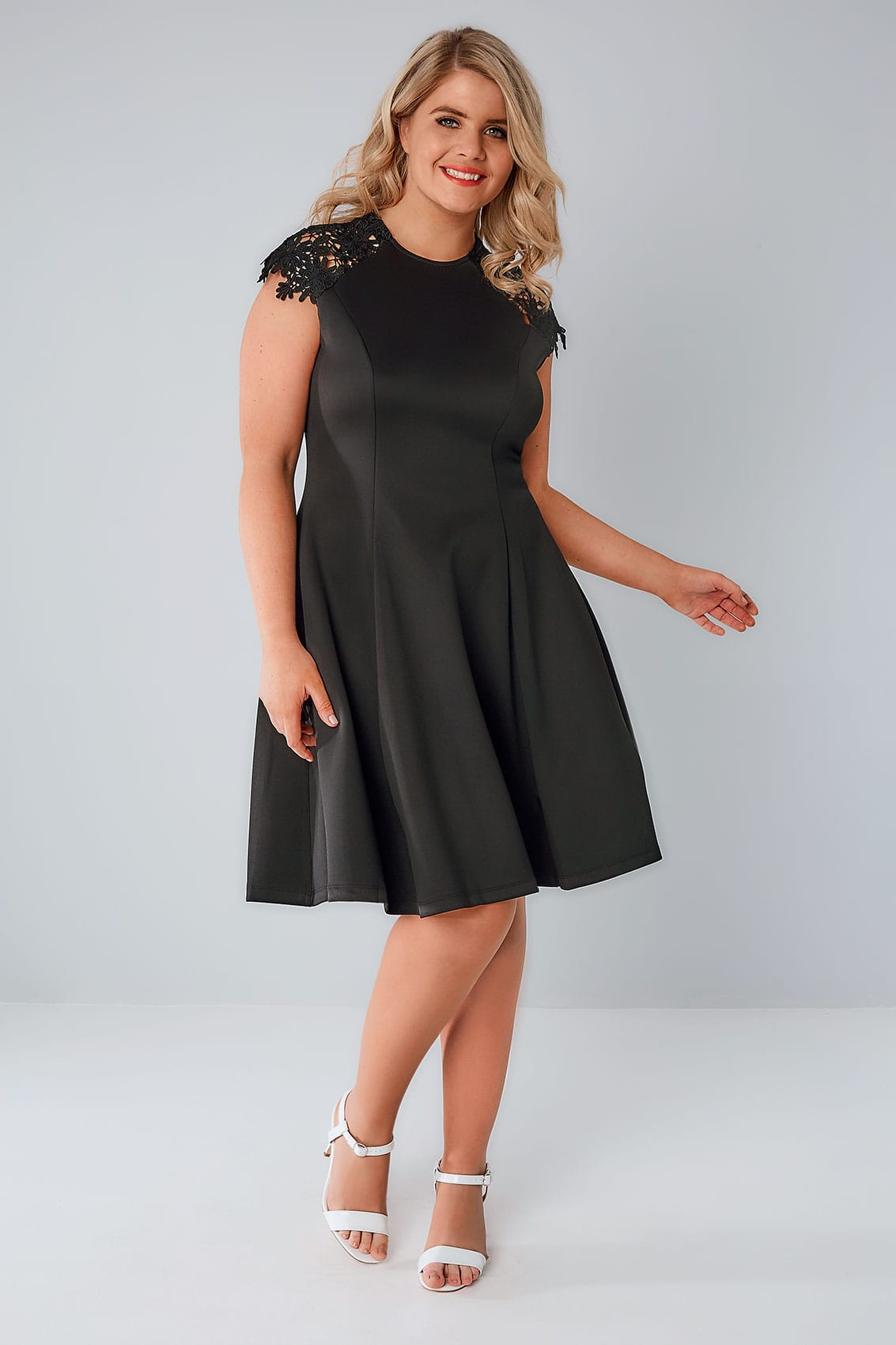 PRASLIN Black Skater Dress With Lace Shoulders, Plus size ...