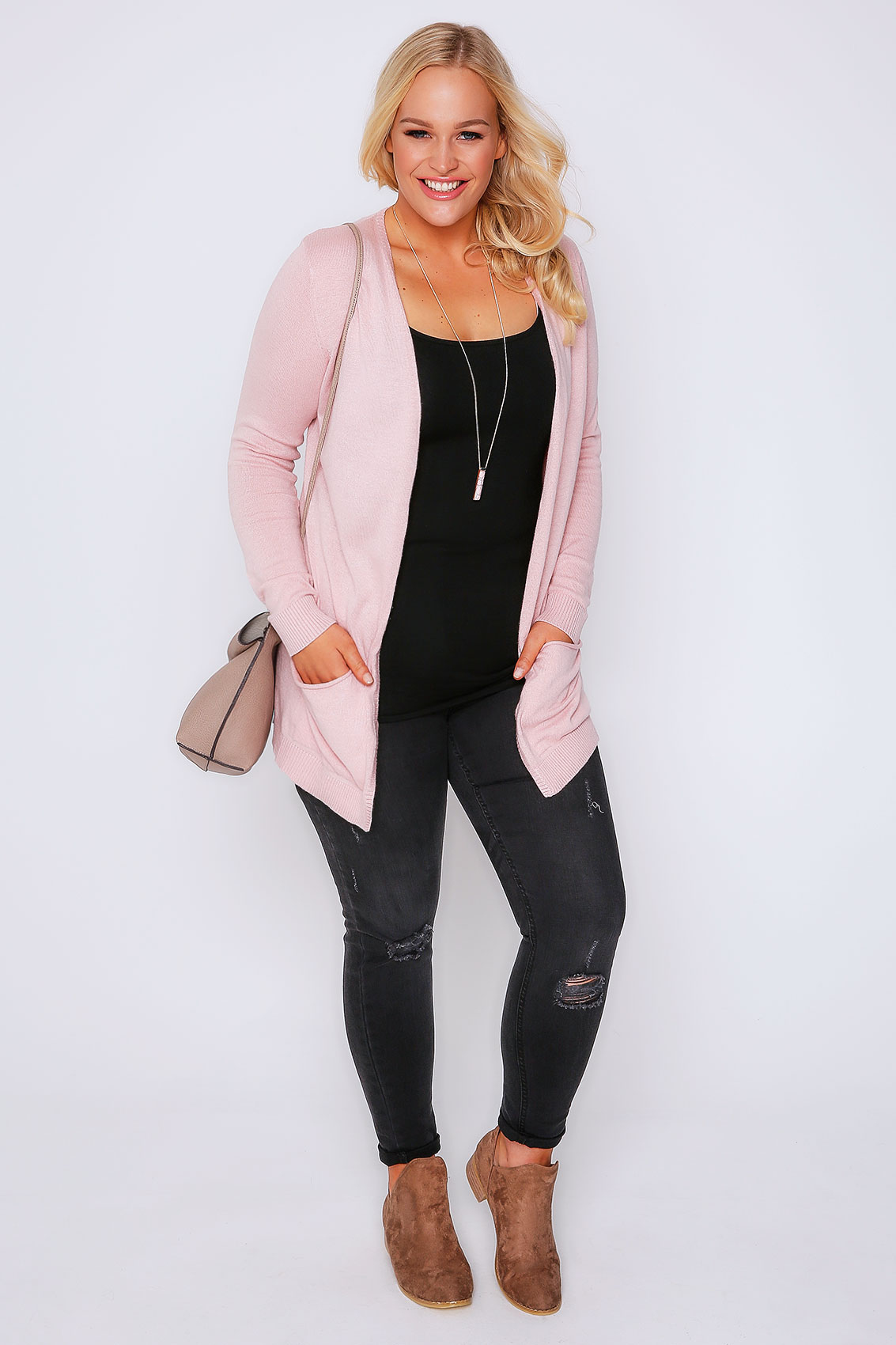 Soft, knitted cardigan in a beautiful pink shade with gold-plated buttons. Round neck and long exeezipcoolgetsiu9tq.cfs: 5.