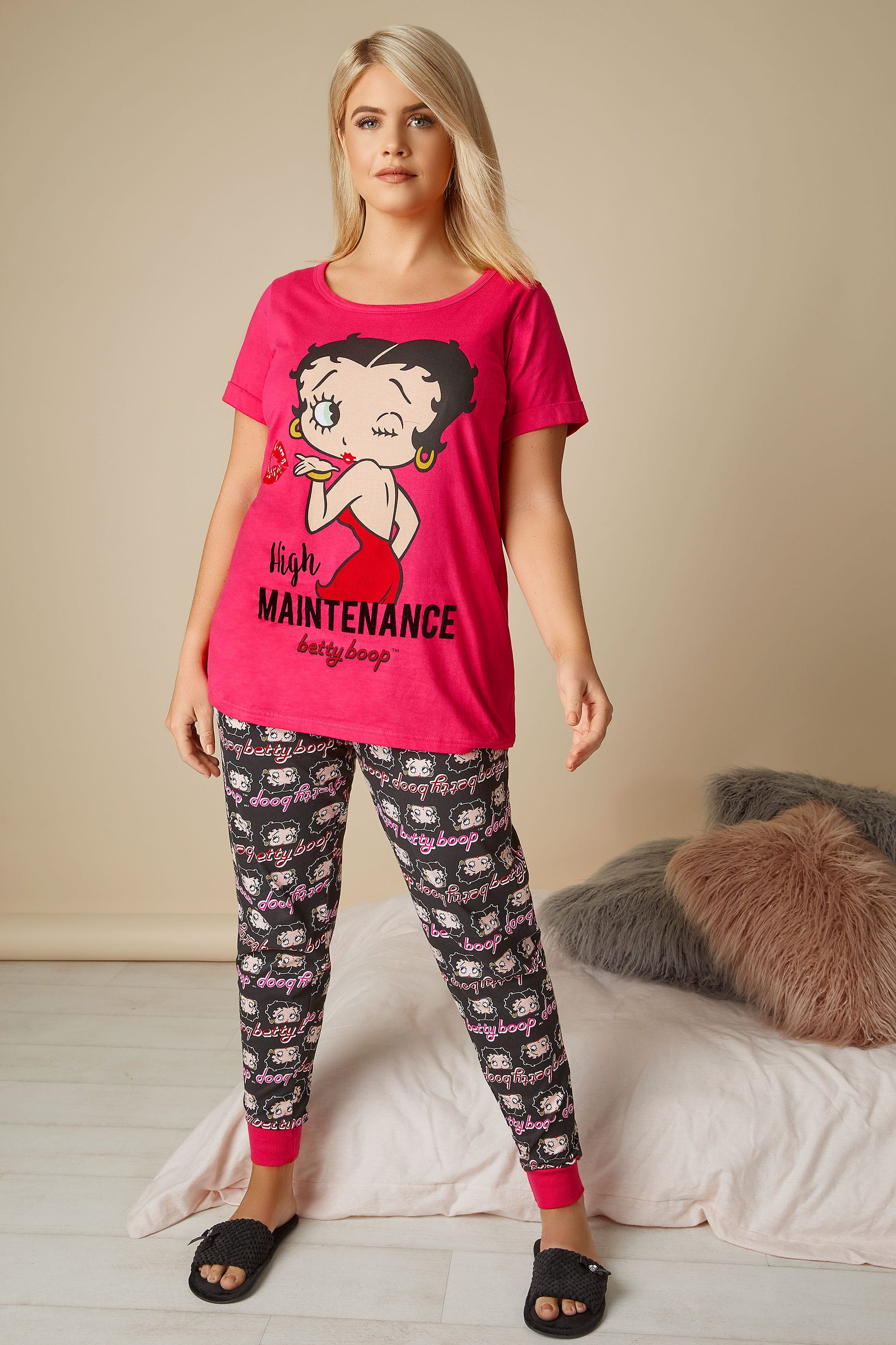 pink schwarz betty boop oberteil schlafanzughose pyjama set in gro en gr en 44 64. Black Bedroom Furniture Sets. Home Design Ideas