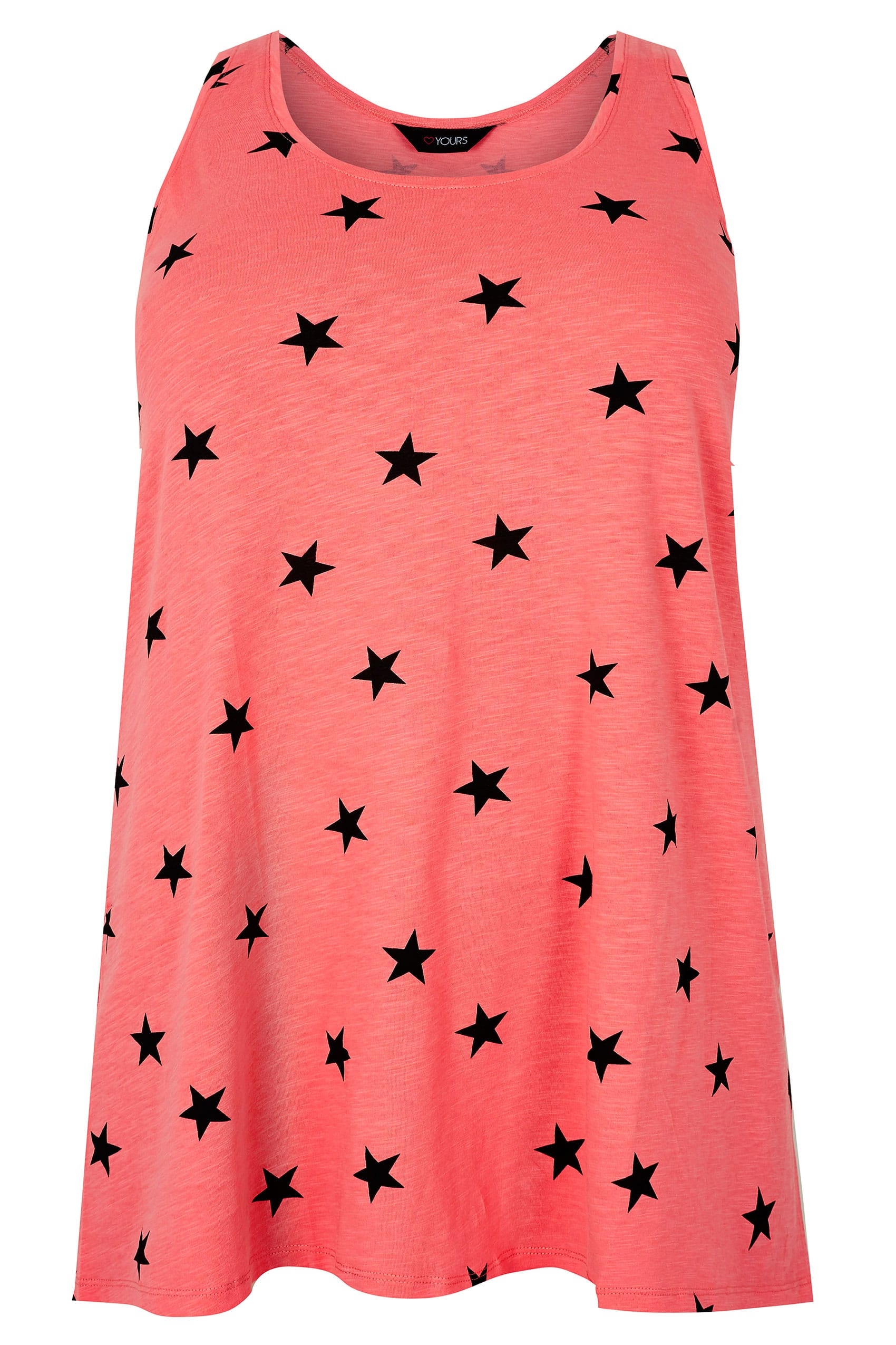 Pink black star print swing vest top plus size 16 to 36 for Vest top template