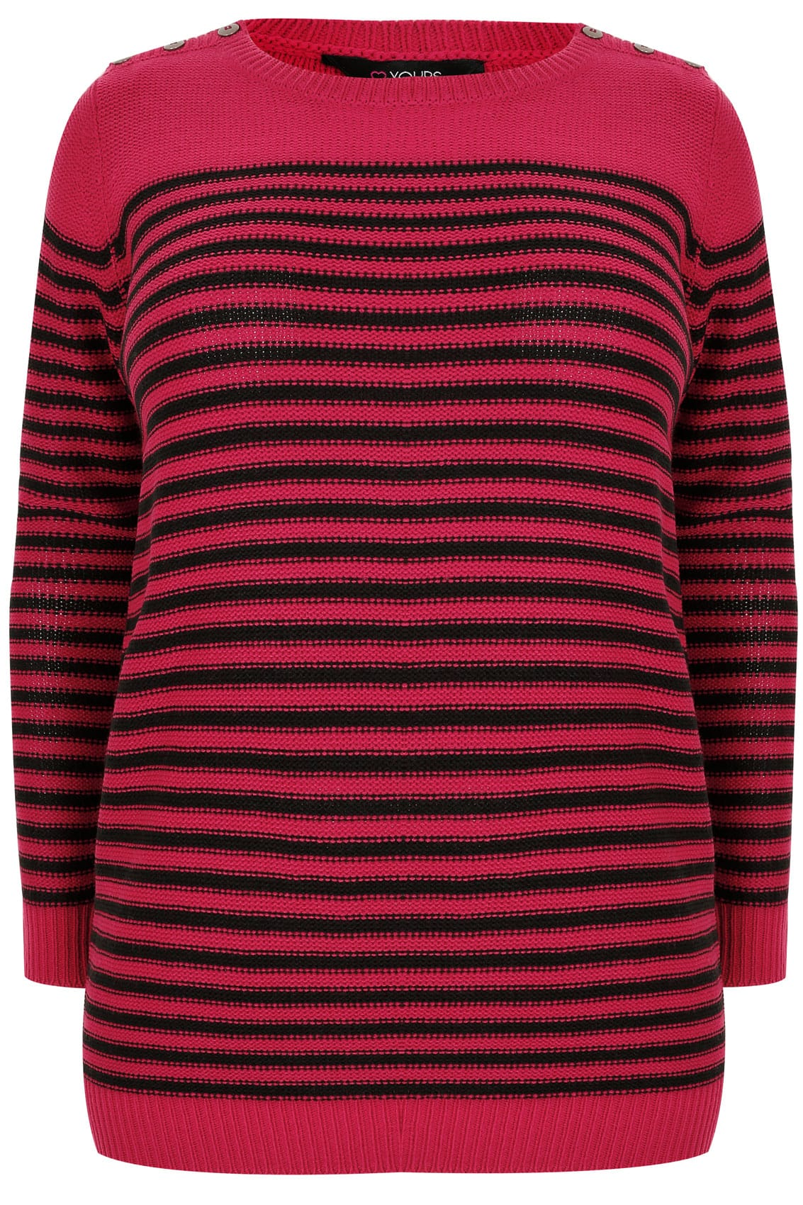 pink amp black textured striped jumper with mock button