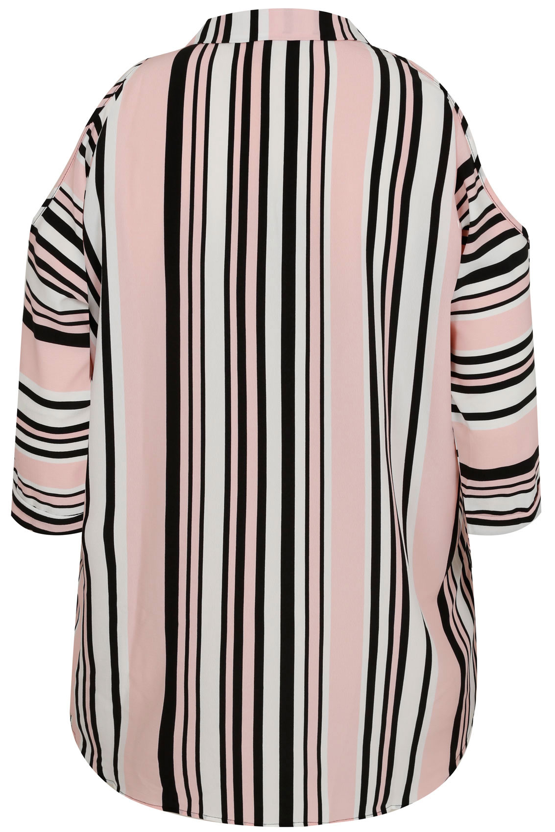 Black White Pink Striped Cold Shoulder Shirt Plus Size