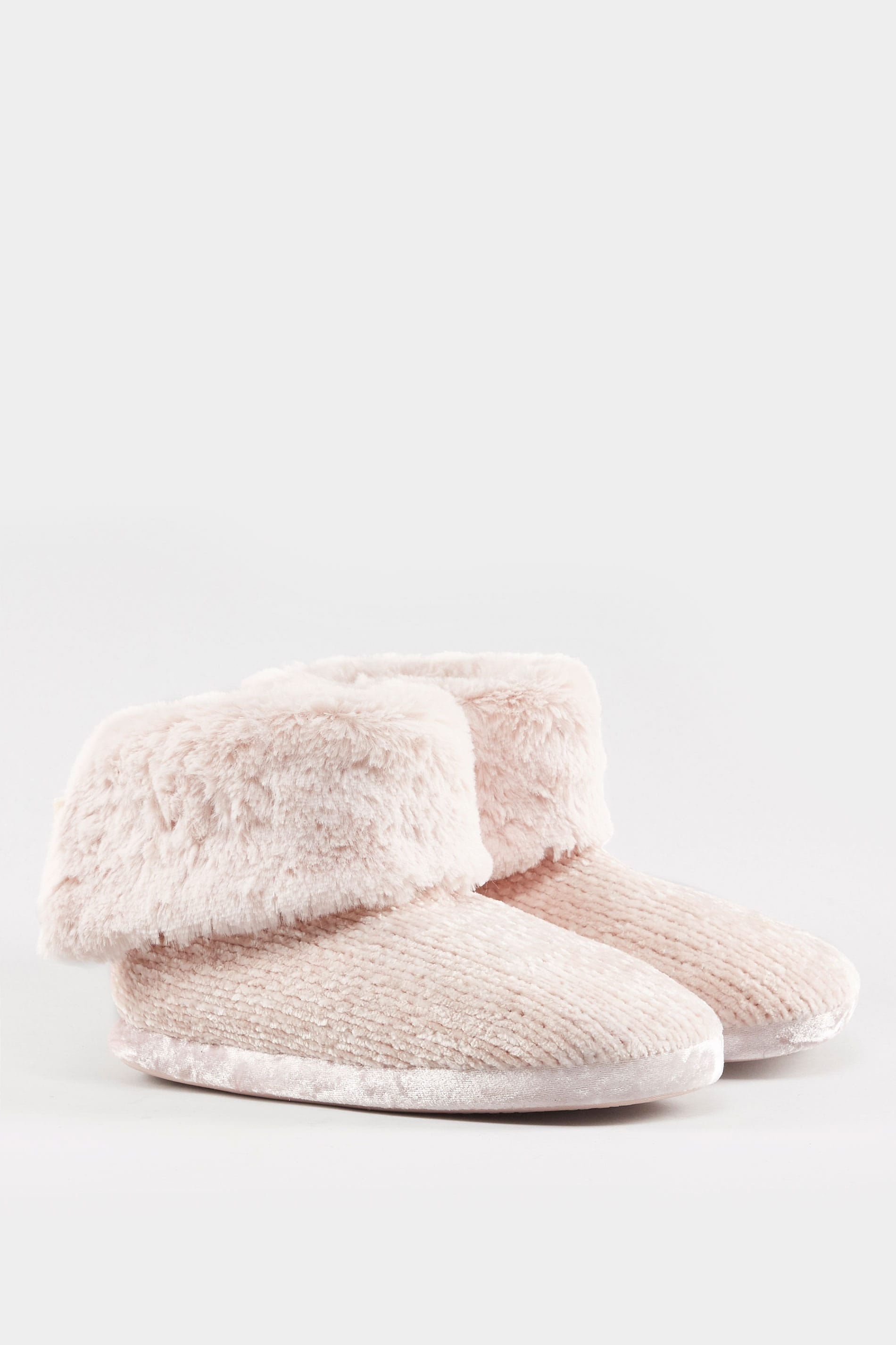 7f8c24e7e759f Pink Chenille Knit Slipper Boot, Wide Fitting Sizes 5 to 10