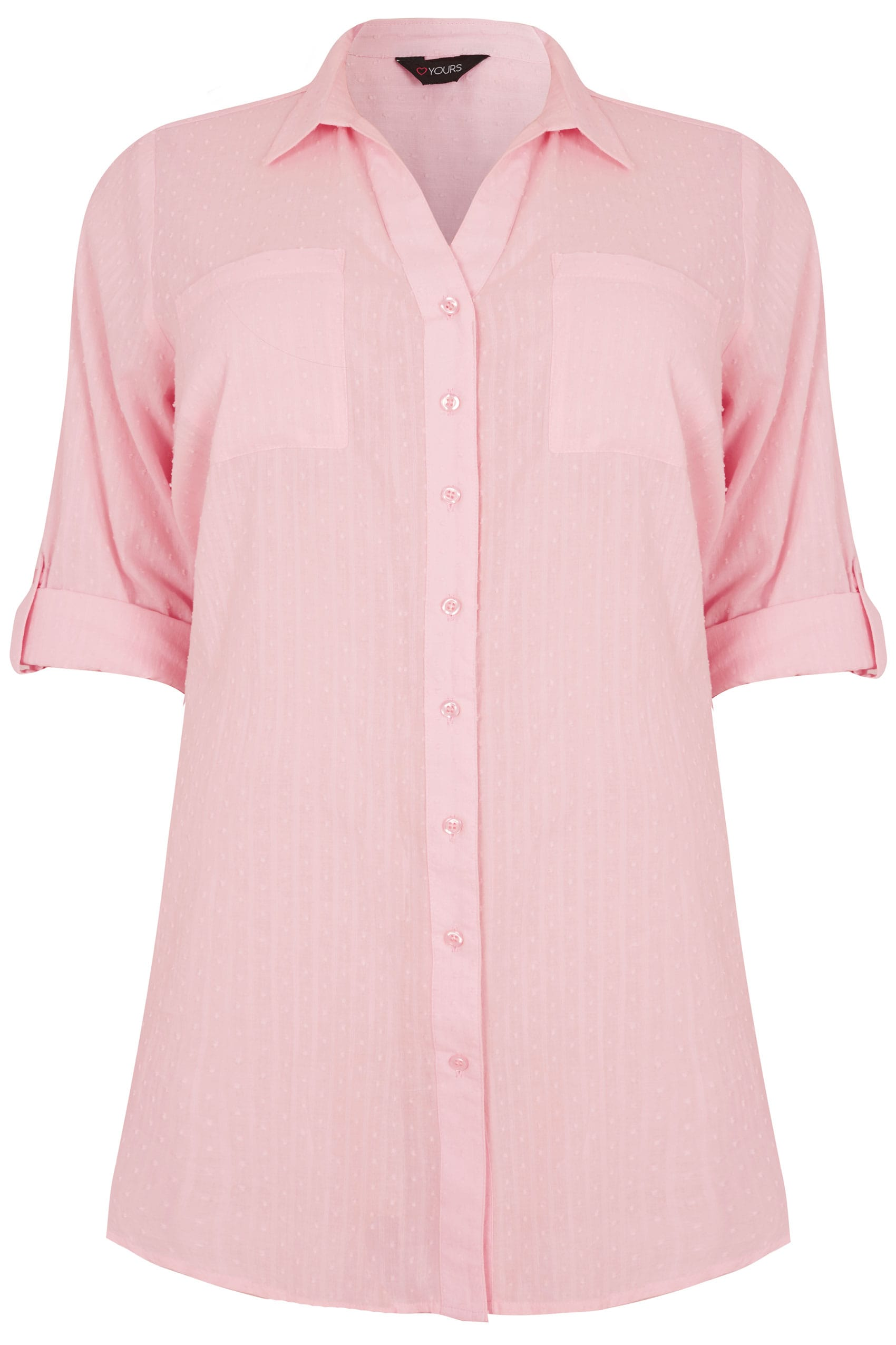 Pink Dobby Textured Shirt With Tie Fastening Plus Size 16