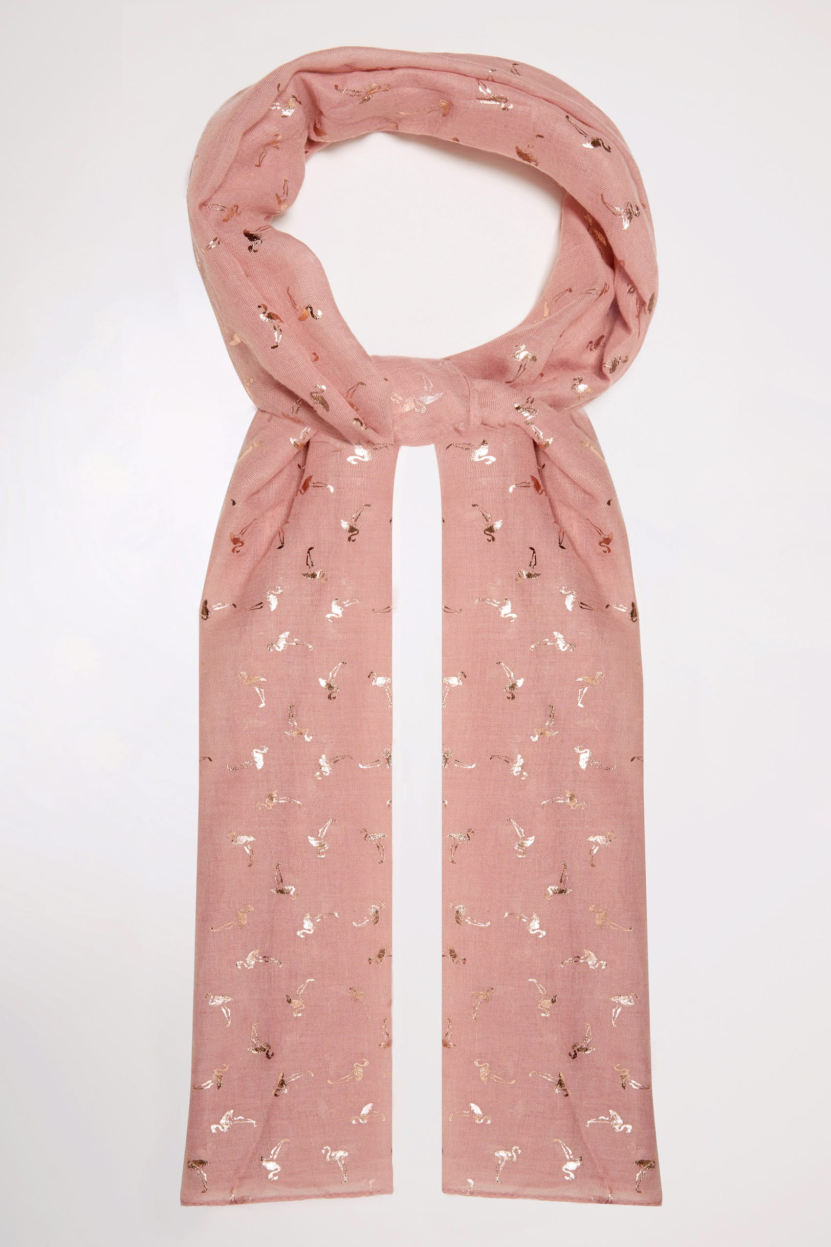 Pink foil flamingo print scarf for Buy here pay later