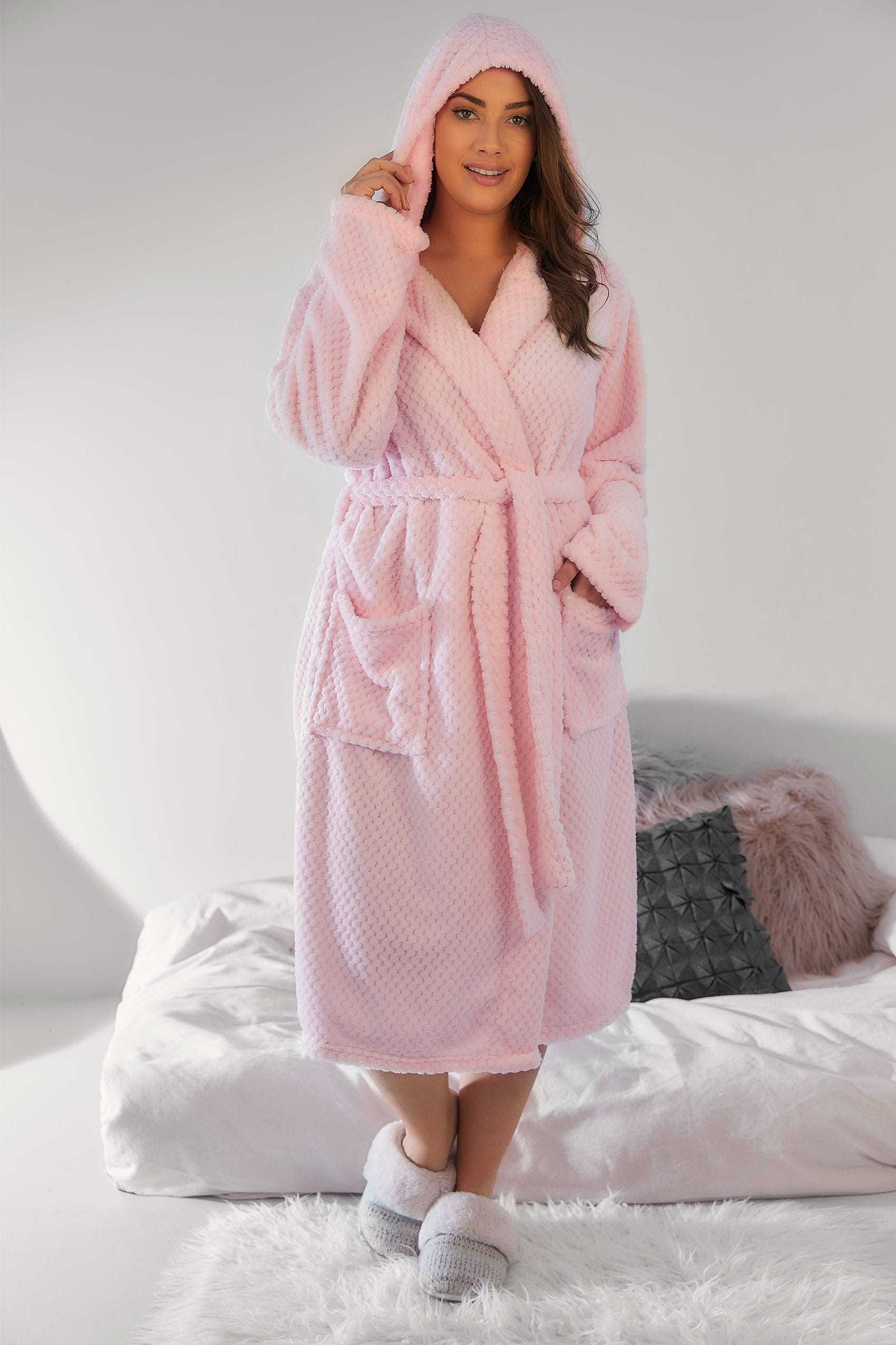 pink hooded textured fleece dressing gown with pockets. Black Bedroom Furniture Sets. Home Design Ideas