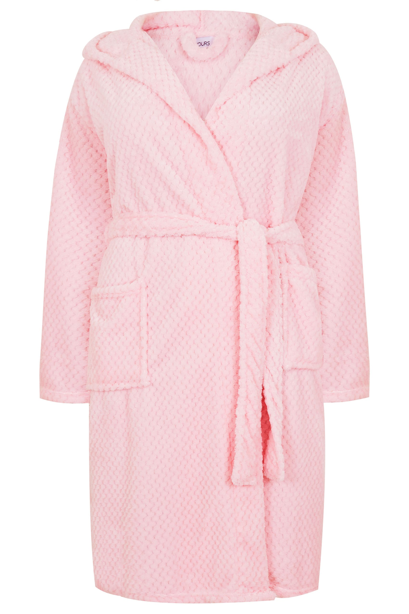 Pink Hooded Fleece Dressing Gown With Pockets, Plus size 16 to 36