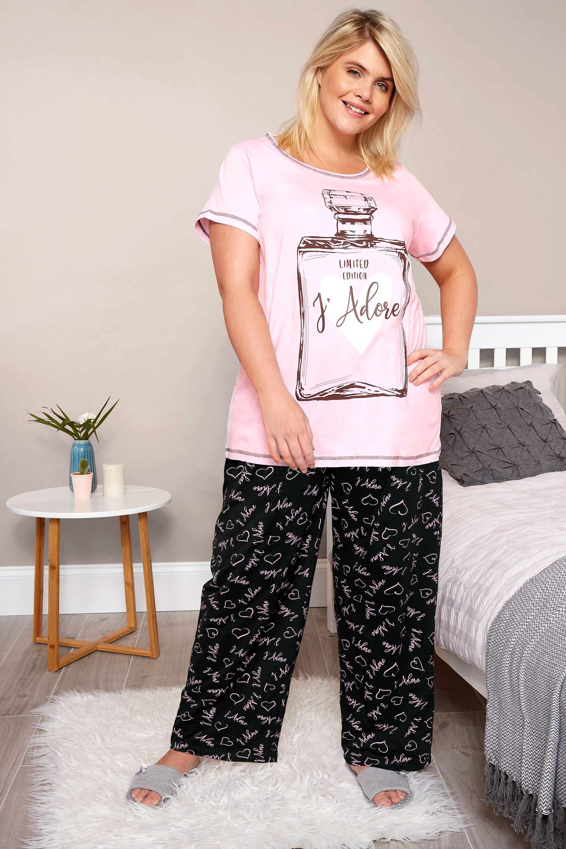 plus size pink 39 j 39 adore 39 pyjama set sizes 16 to 36 yours clothing. Black Bedroom Furniture Sets. Home Design Ideas