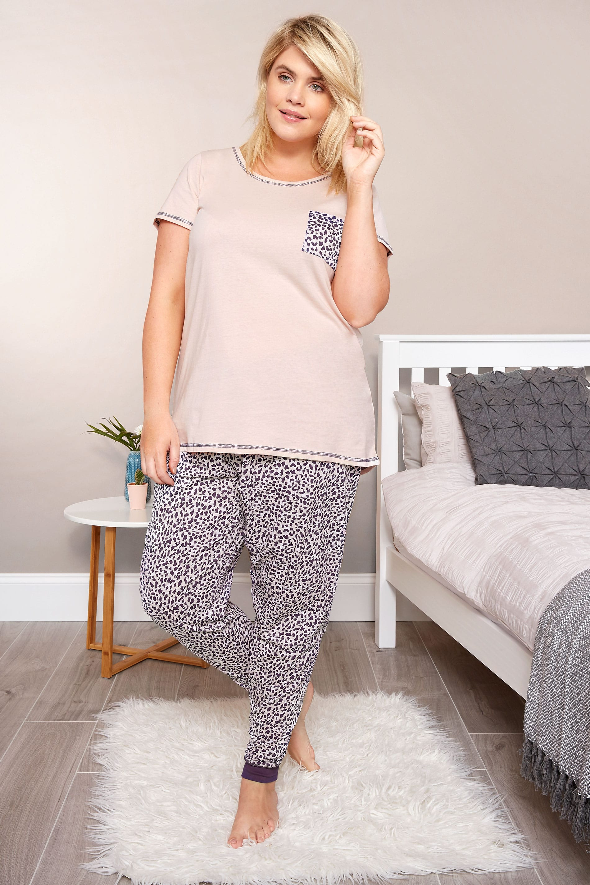 plus size pink leopard print pyjama set sizes 16 to 36 yours clothing. Black Bedroom Furniture Sets. Home Design Ideas