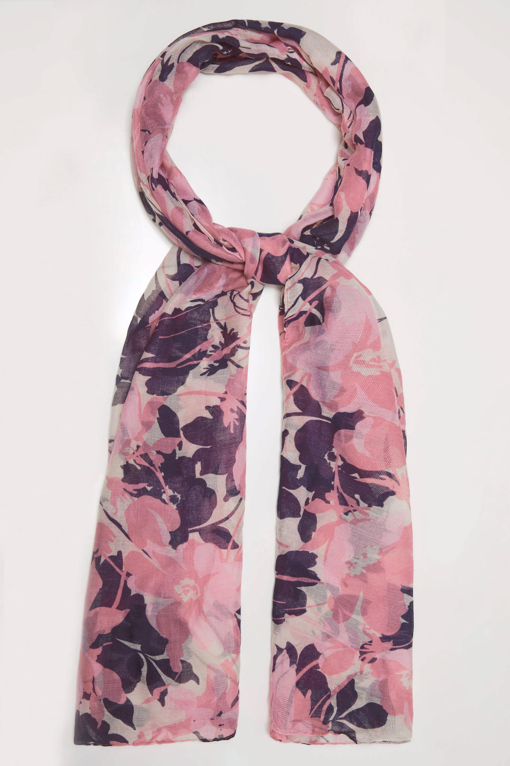 Pink multi floral print scarf for Buy here pay later
