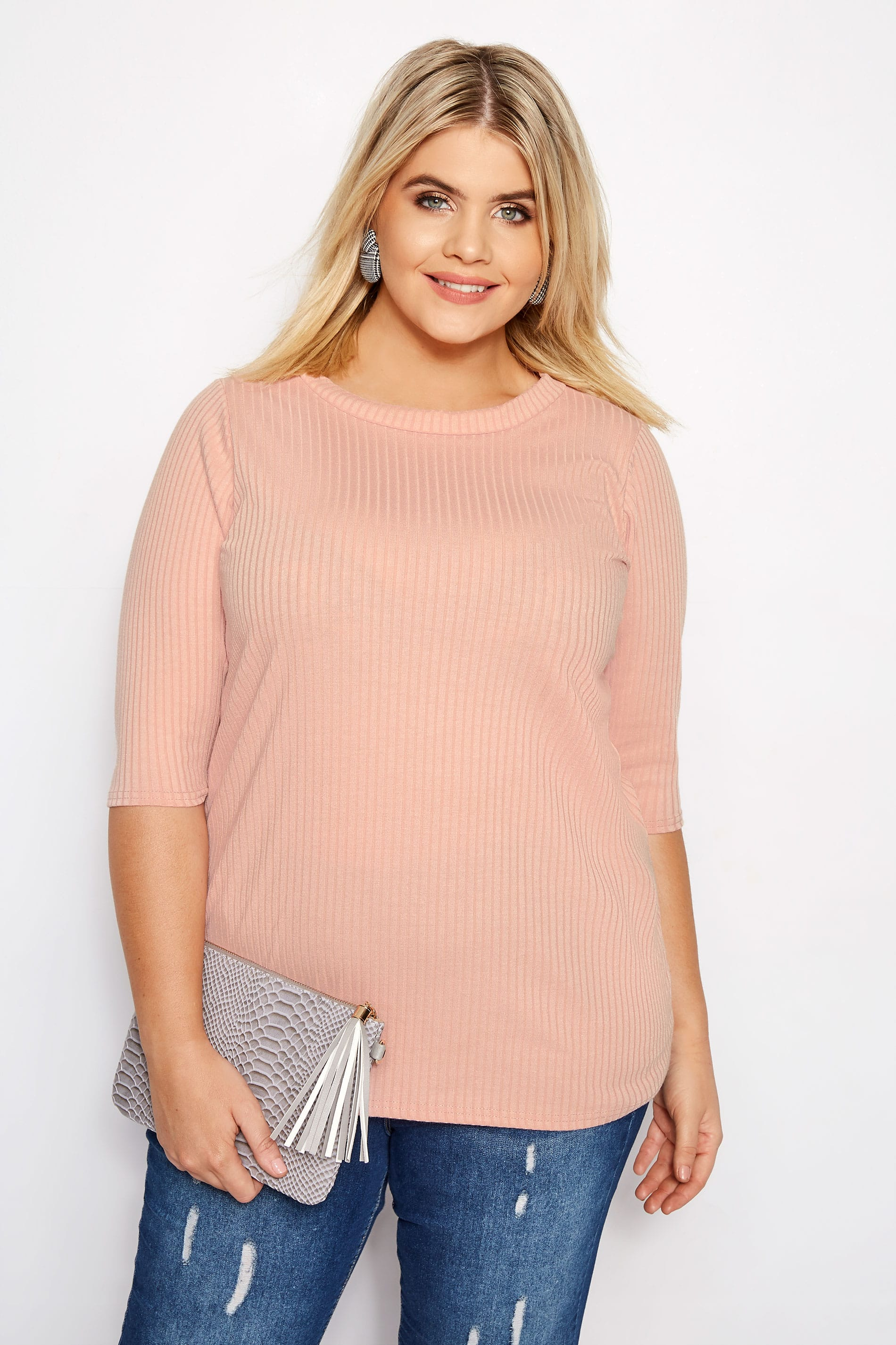 8072c167ec1ed Plus Size Pink Ribbed Top