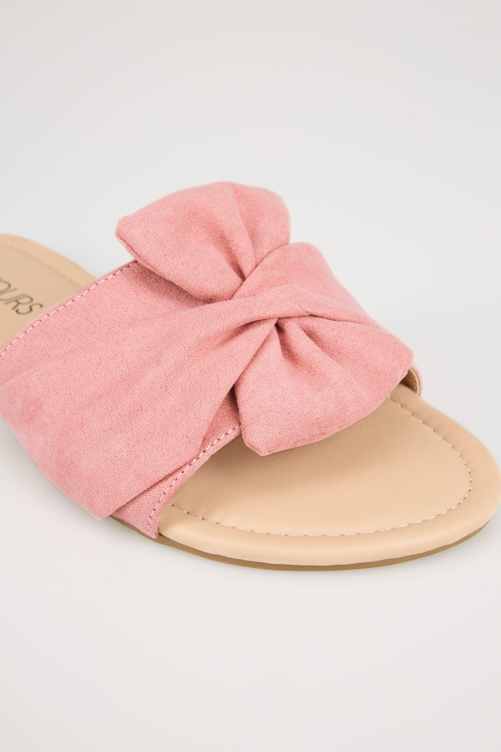 Pink twist bow slip on sandals in eee fit - Div background image ...
