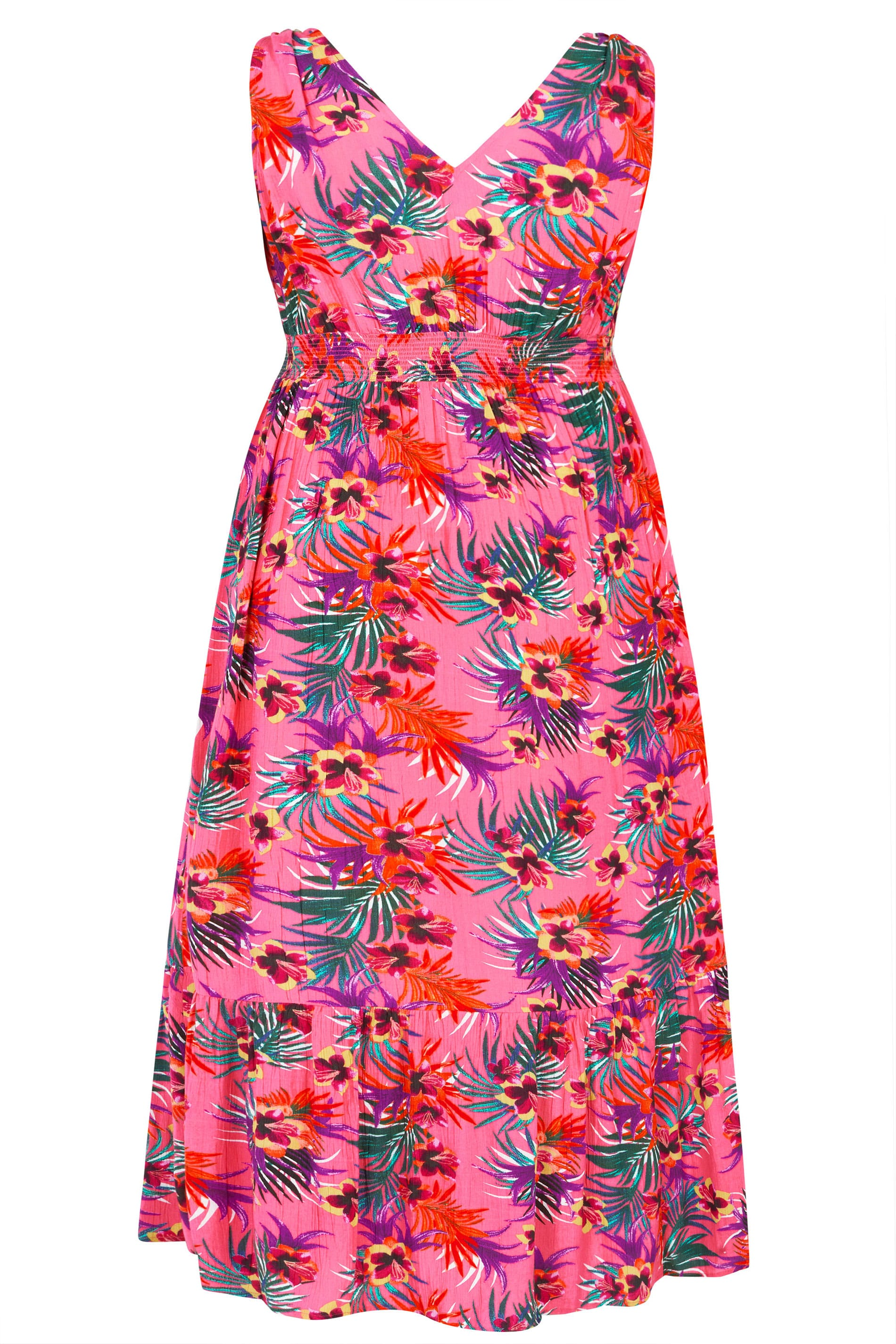54a760120b27 Pink Tropical Maxi Dress | Plus Sizes 16 to 36 | Yours Clothing