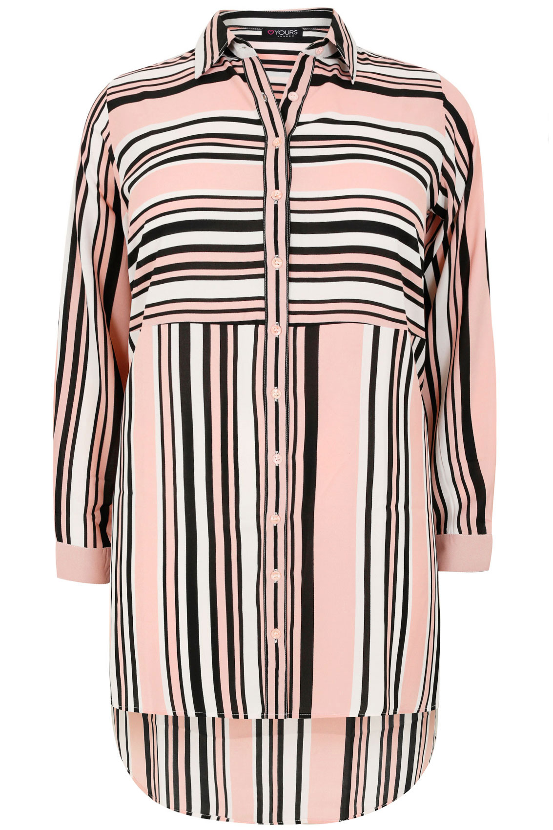 Pink White Black Striped Shirt With Side Split Dipped