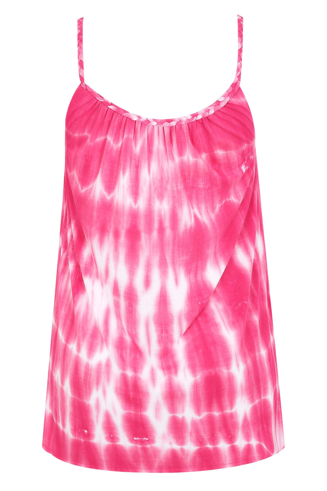 pink amp white tie dye swing vest with plaited straps plus