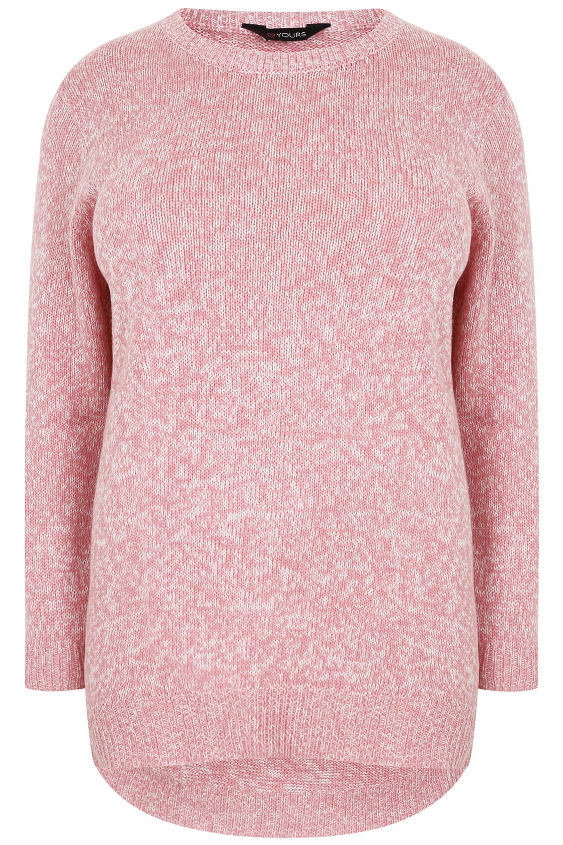 Pink & White Twist Knitted Longline Jumper, Plus size 16 to 36
