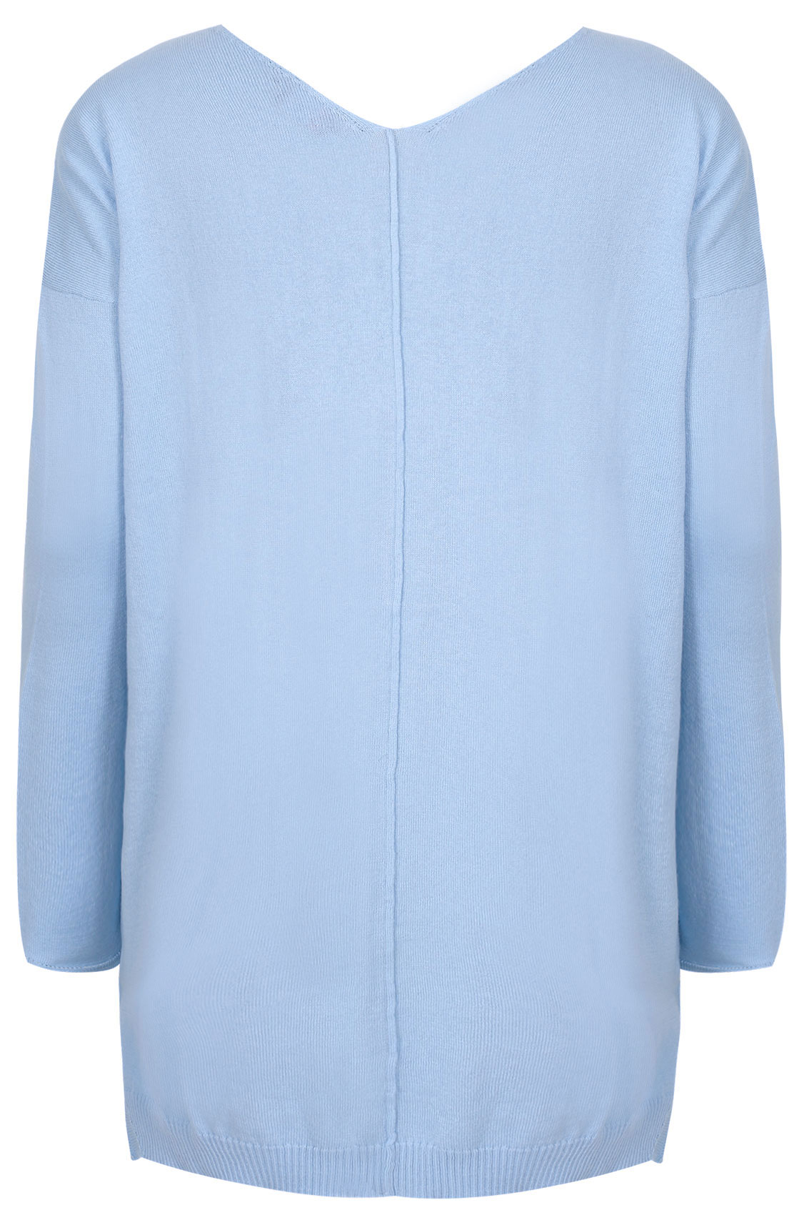 Powder Blue Knitted V-Neck Longline Jumper With Step Hem, Plus size 16 to 36