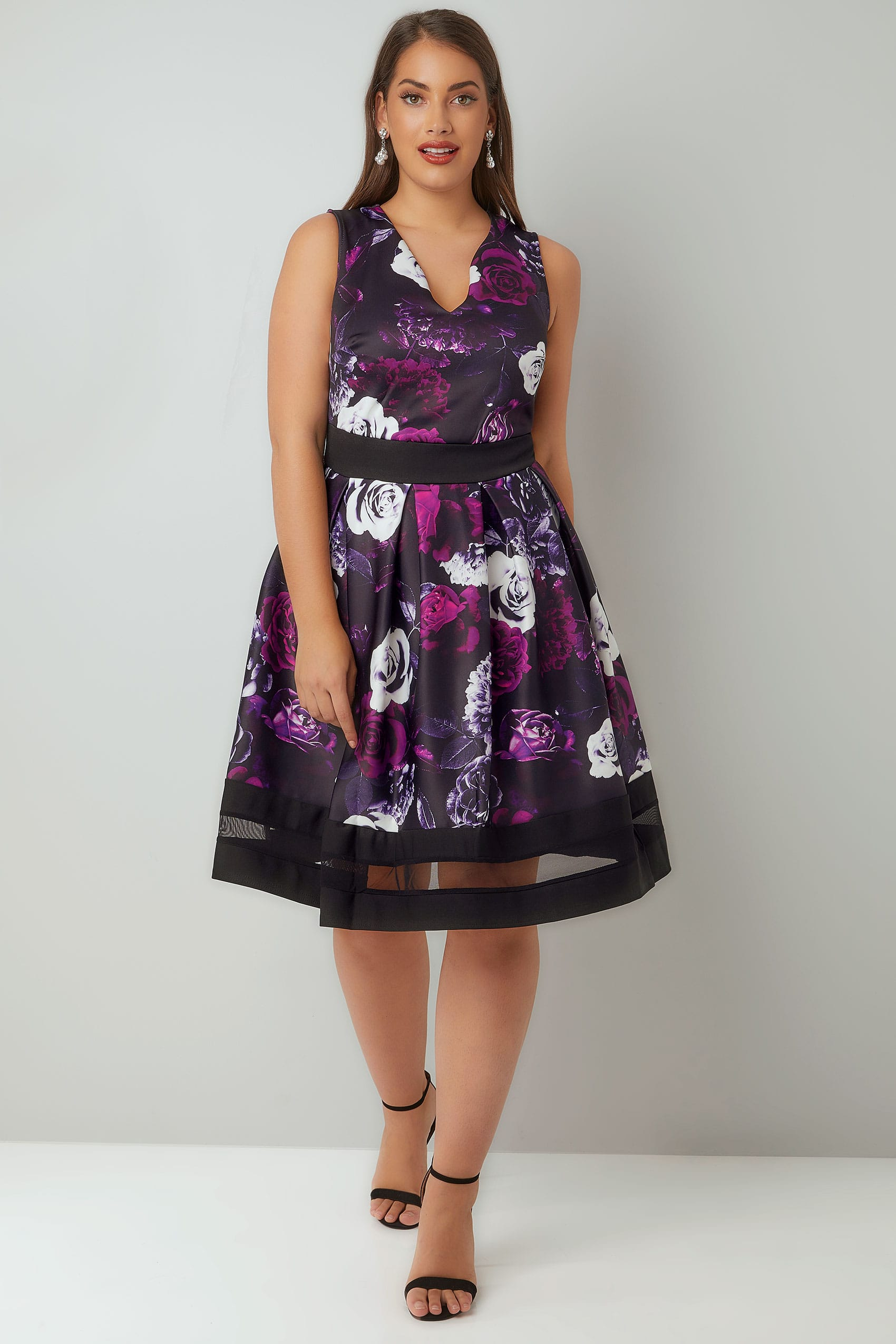 355e6e536643 Purple   Black Floral Print Scuba Skater Dress