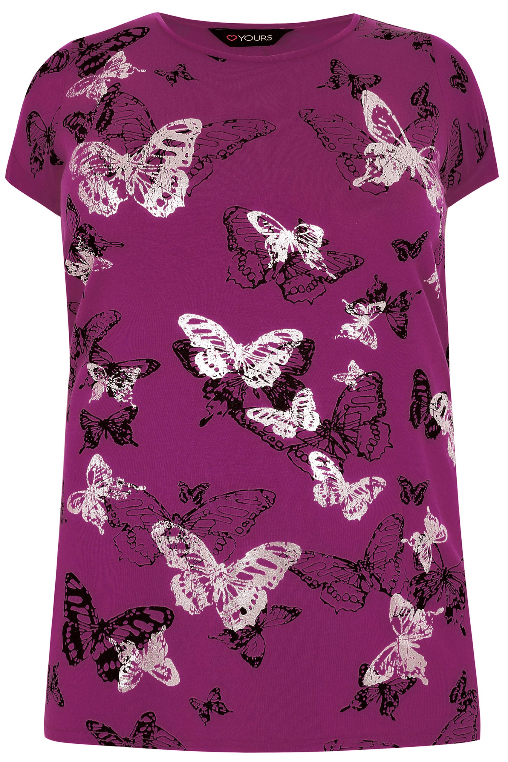 Purple butterfly print t shirt with foil detail plus size for Quick print t shirts