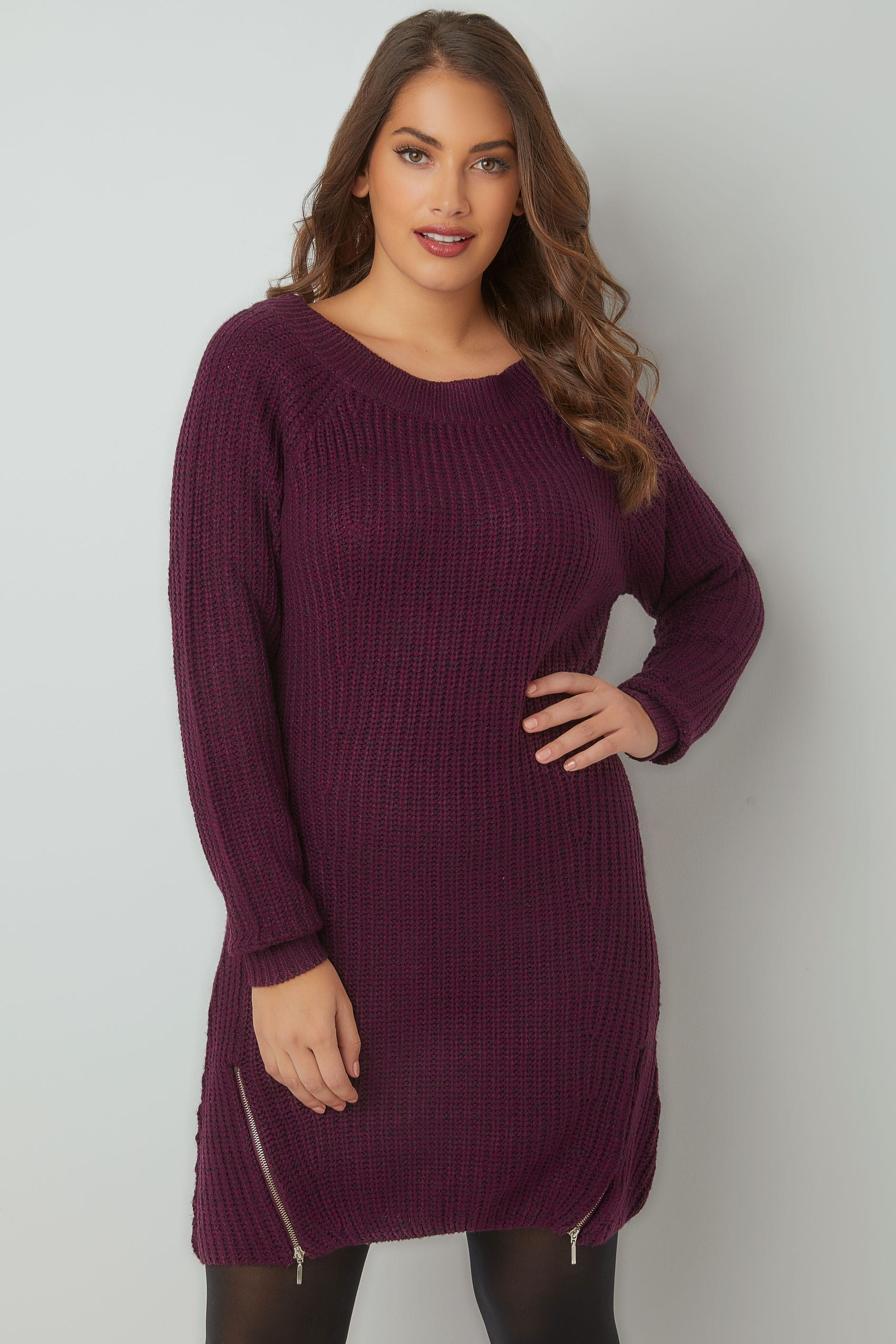 purple chunky knit tunic dress with zip hem plus size 16 to 36. Black Bedroom Furniture Sets. Home Design Ideas