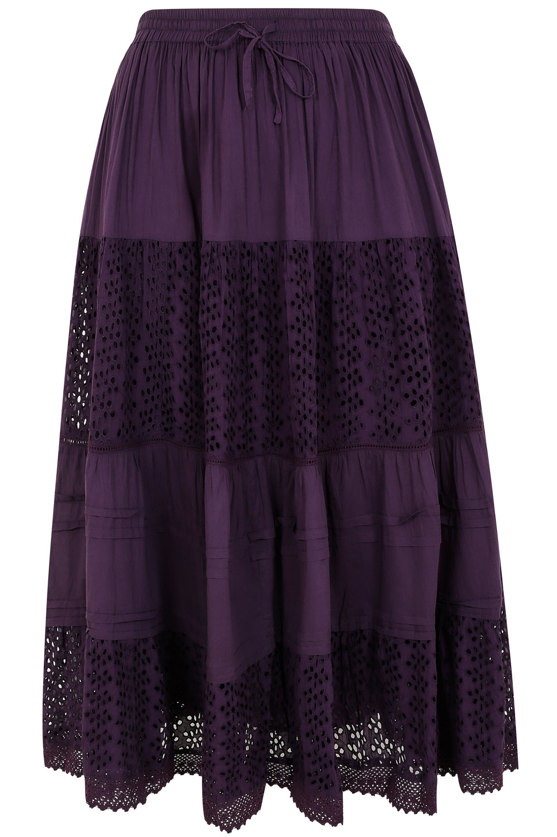 purple crinkle cotton tiered maxi skirt with broderie