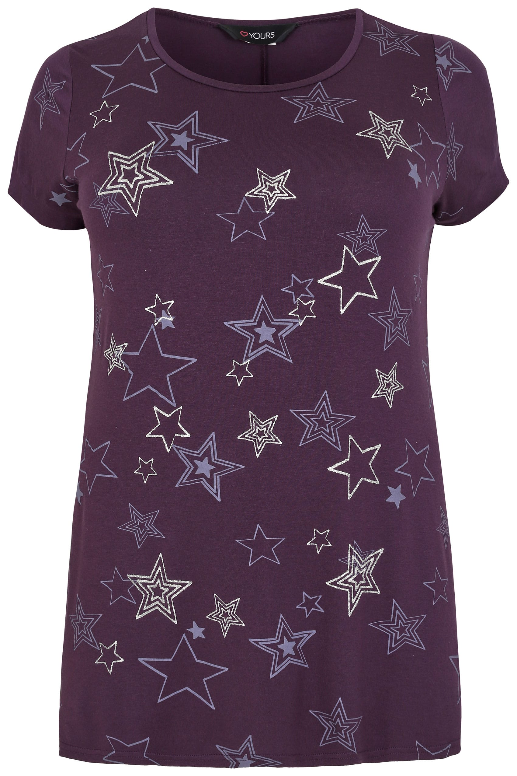 Purple glitter star print t shirt plus size 16 to 36 for Quick print t shirts