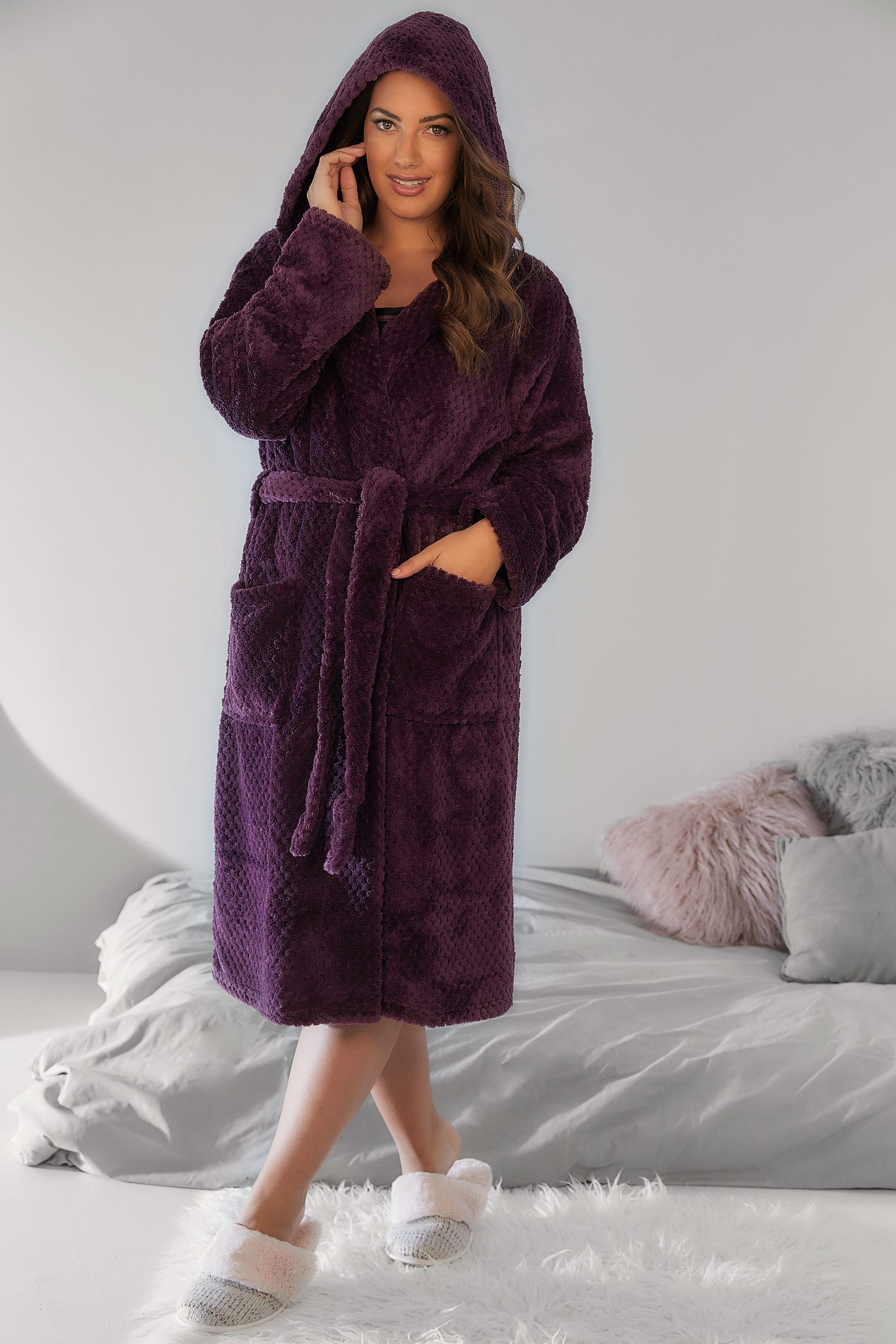 Purple Hooded Fleece Dressing Gown With Pockets, Plus size 16 to 36