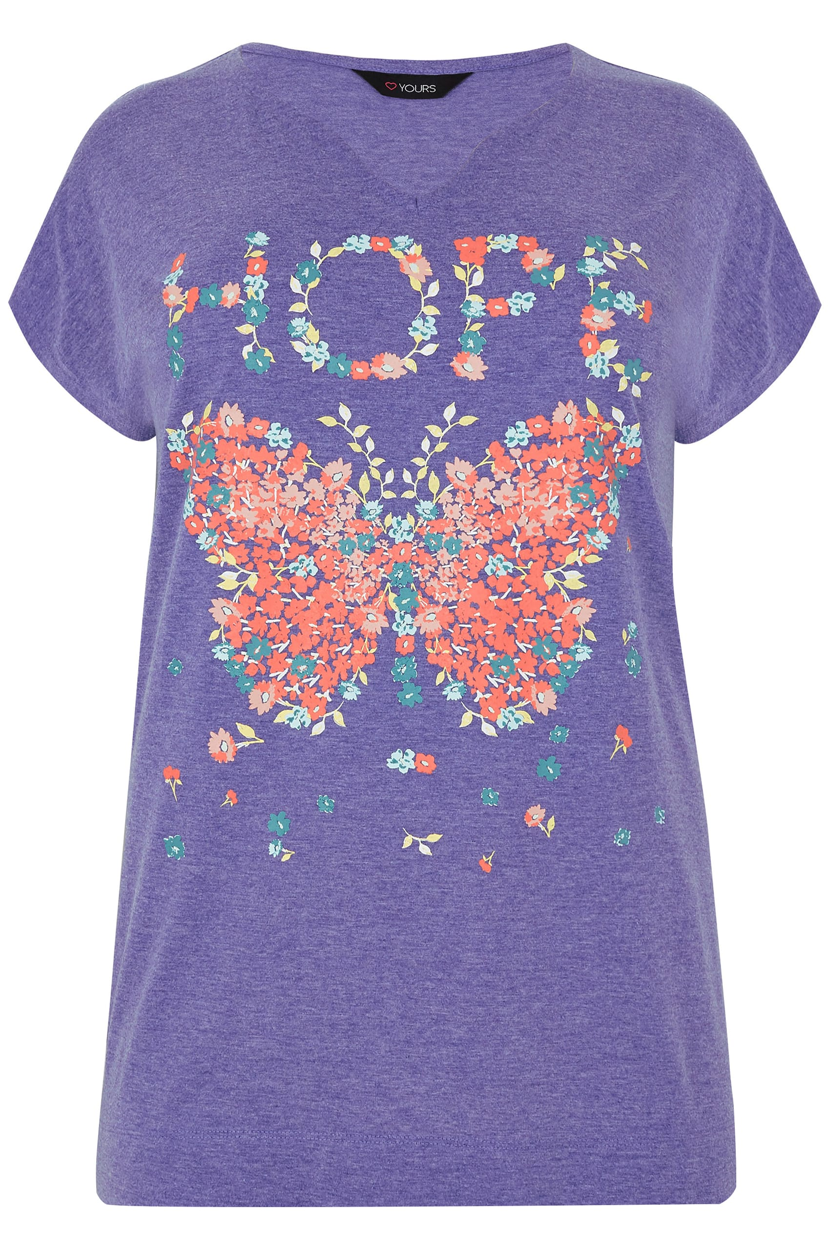 Purple 39 hope 39 slogan butterfly print t shirt plus size for Quick print t shirts